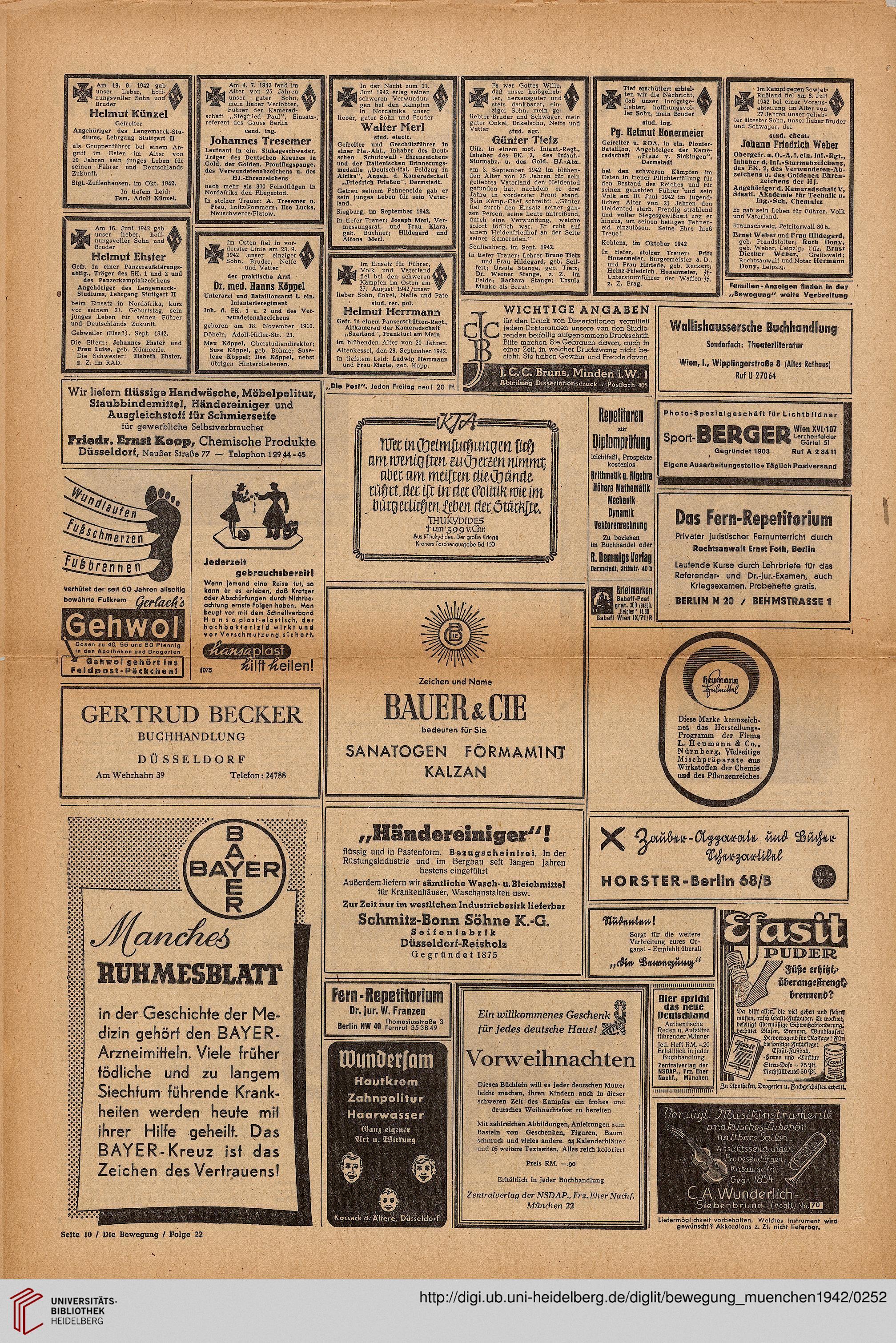 Die Bewegung Zeitung D Dt Studenten 10 1942