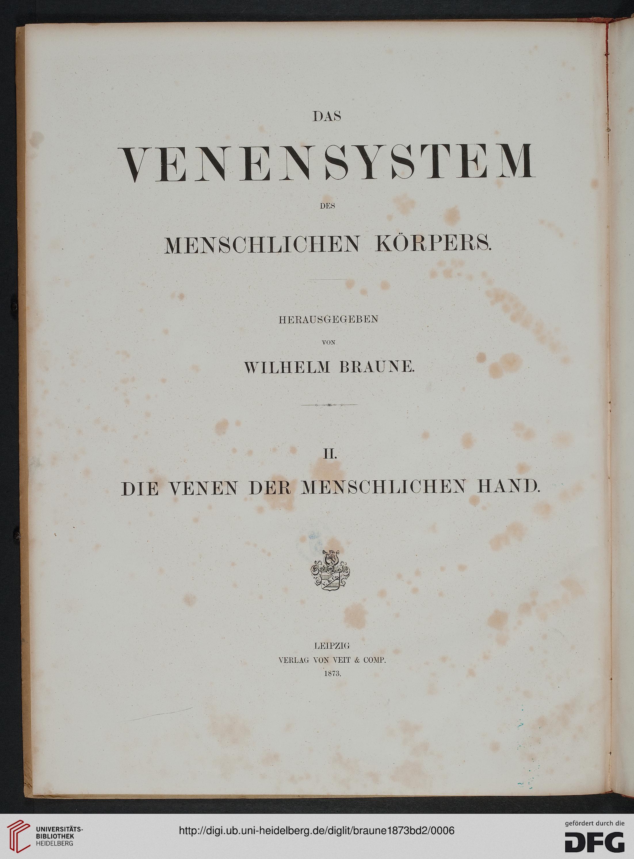 Braune, Wilhelm [Hrsg.]; Trübiger, Armin [Bearb.]: Das Venensystem ...