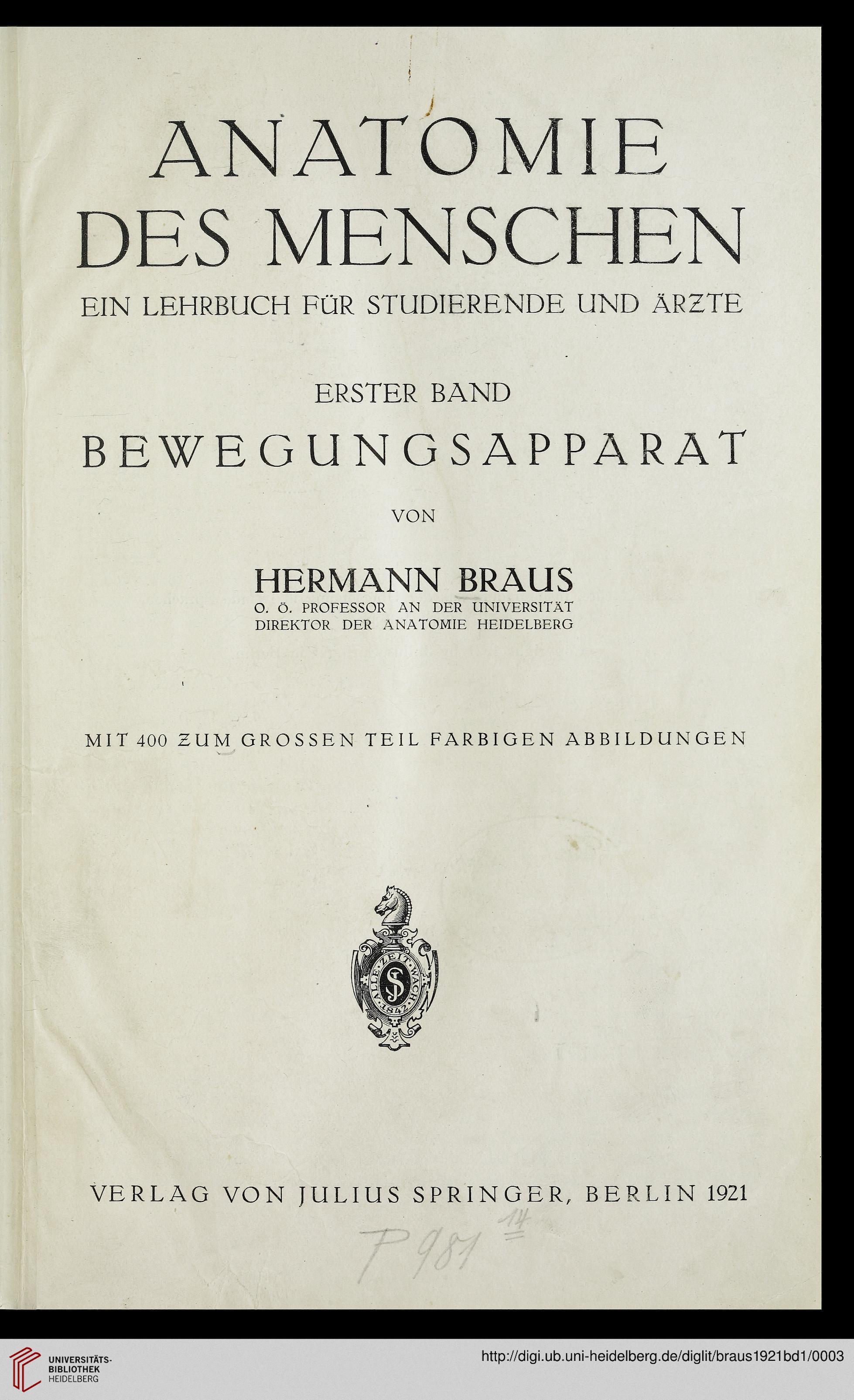 Braus, Hermann: Anatomie des Menschen: ein Lehrbuch für Studierende ...