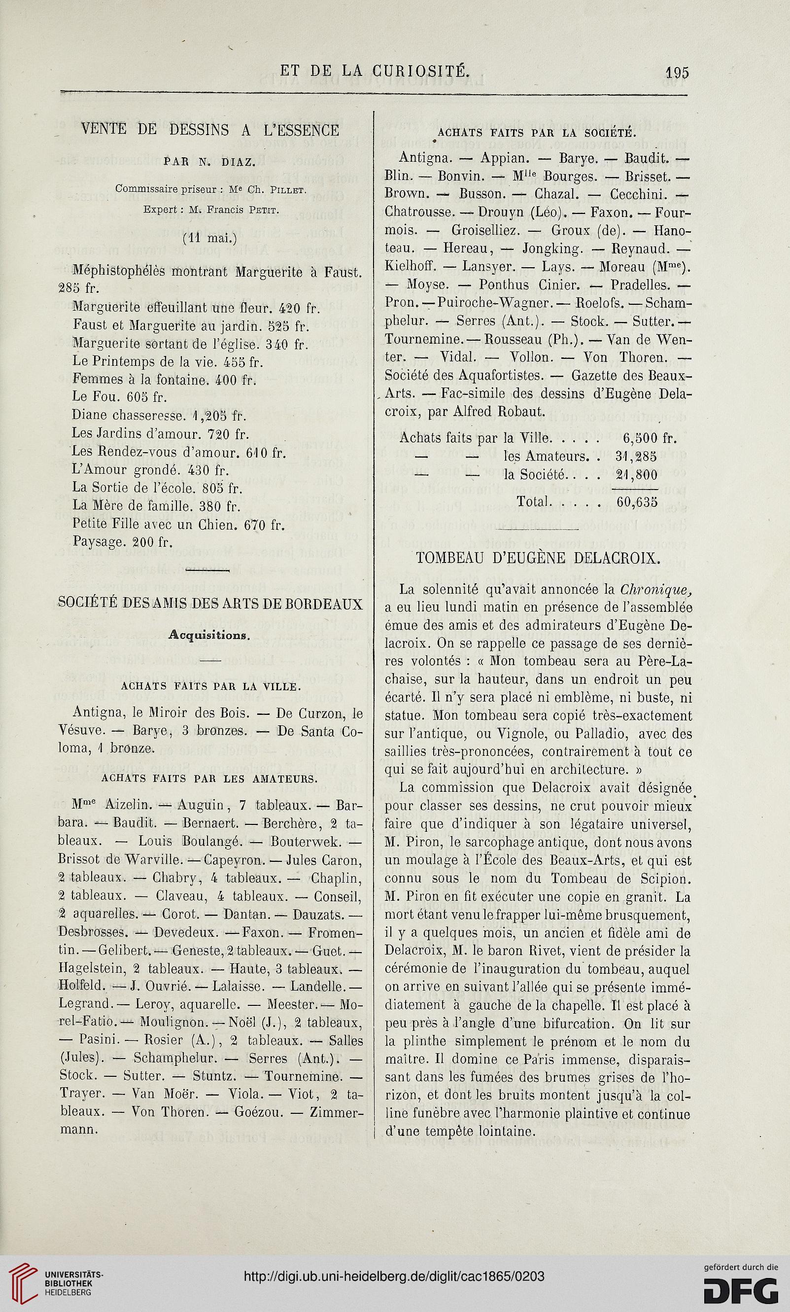 La Chronique Des Arts Et De Curiosite 1865