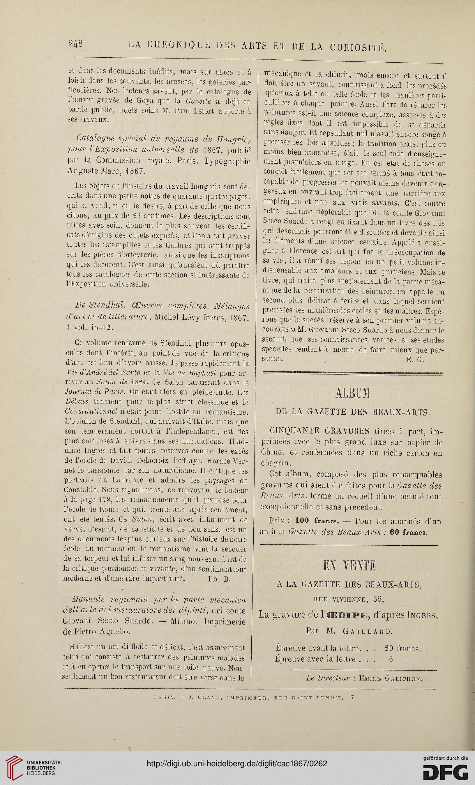 La chronique des arts et de la curiosité (1867)