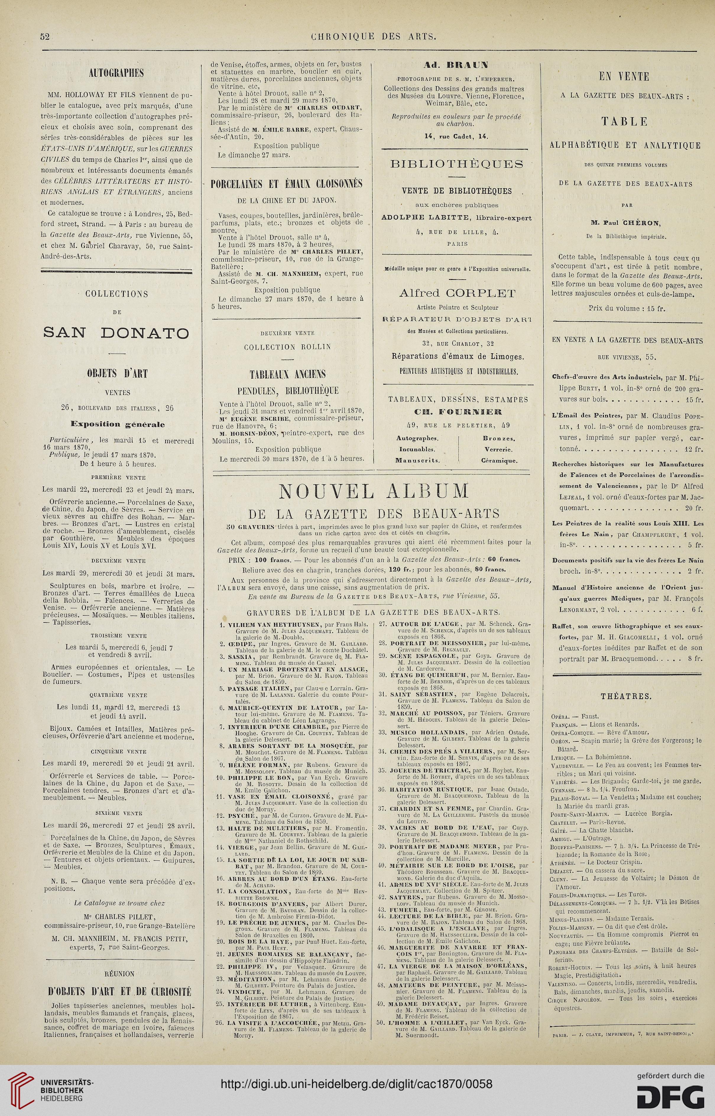 La Chronique Des Arts Et De La Curiosite 1870