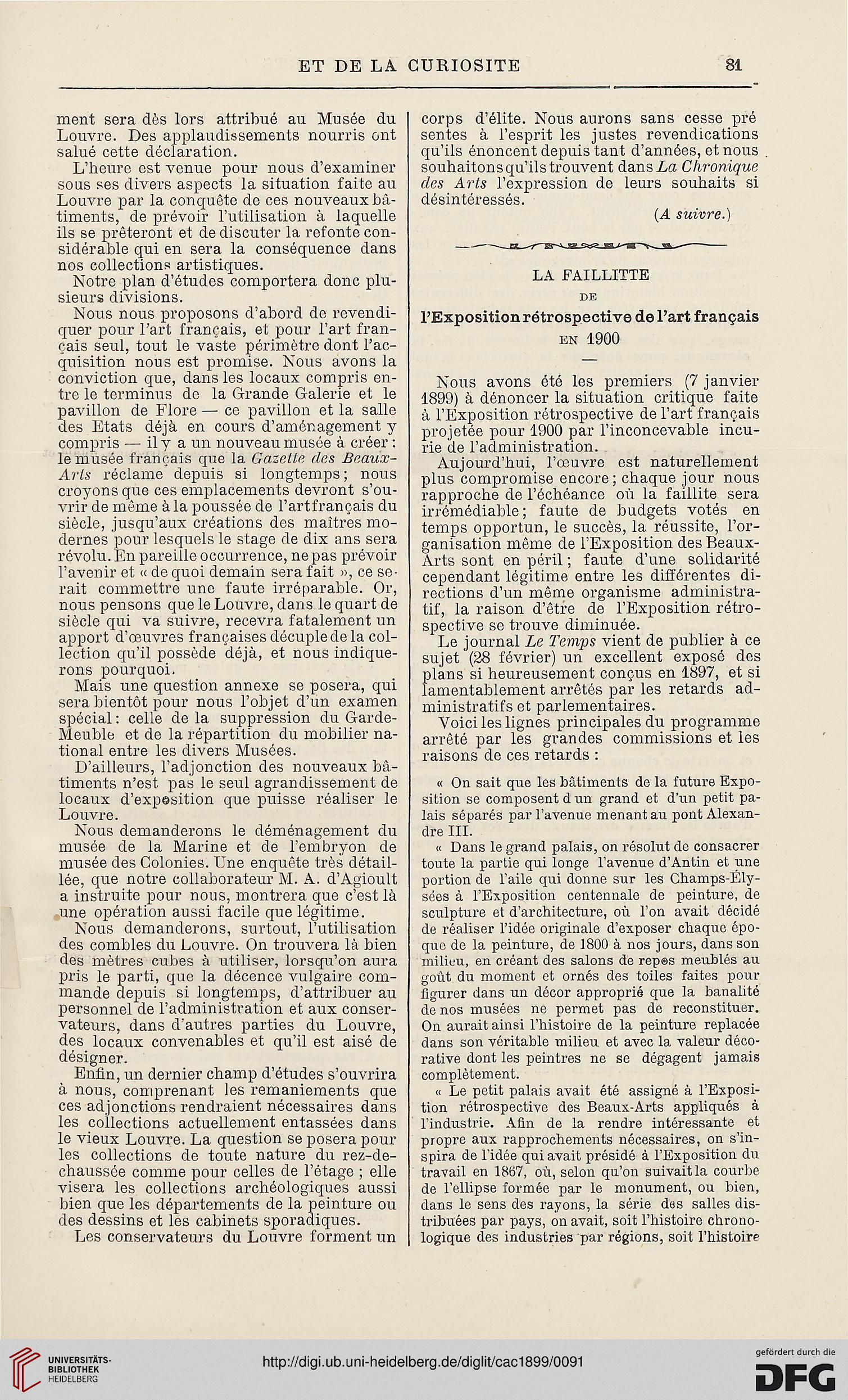 La Chronique Des Arts Et De Curiosite 1899