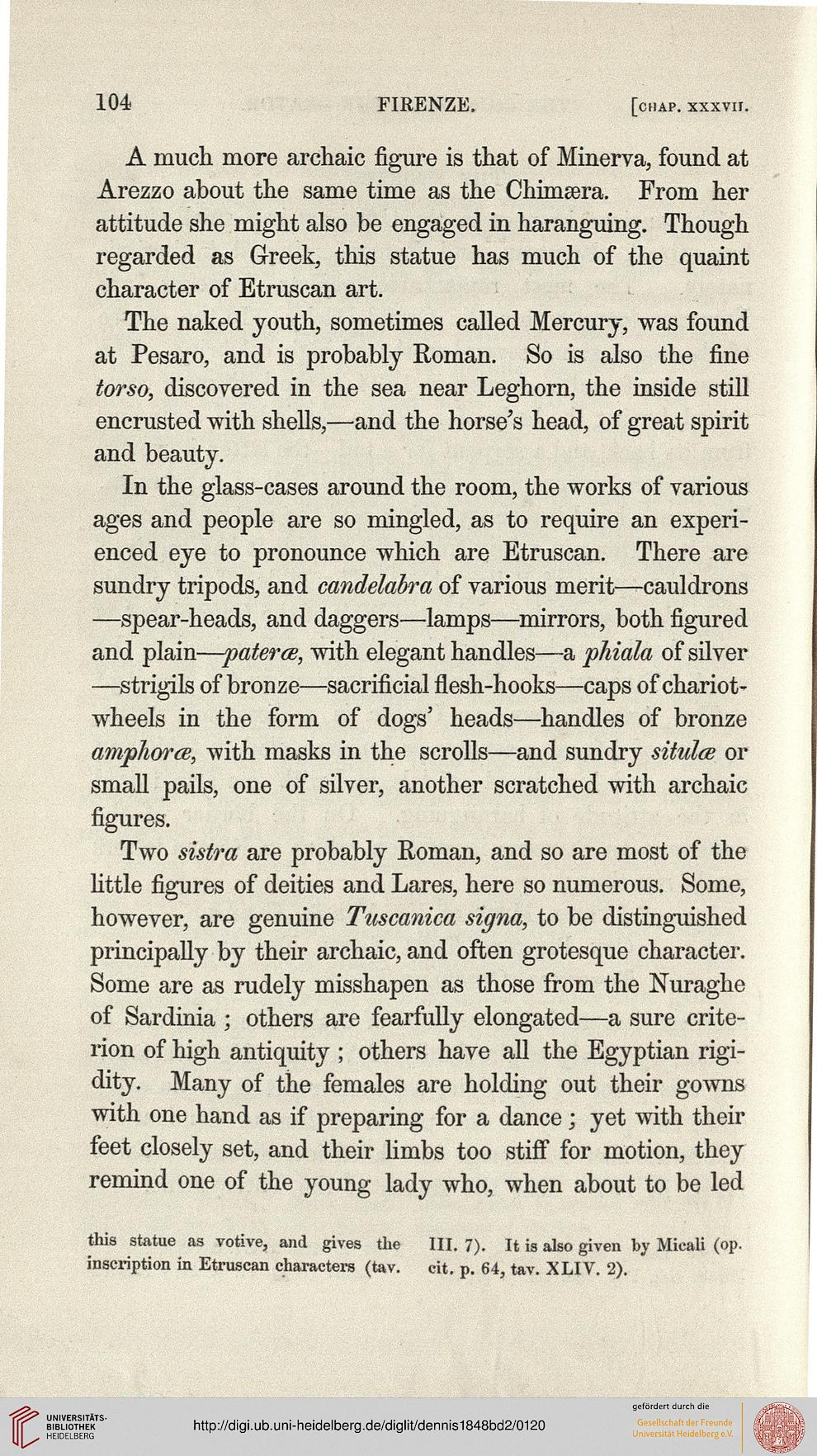 Dennis, George: The cities and cemeteries of Etruria: in two ...