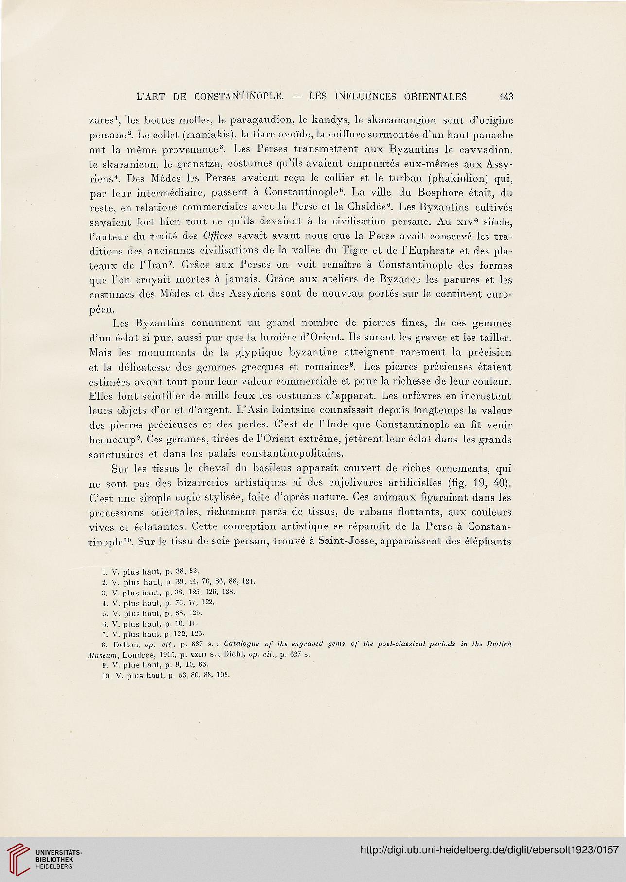 Ebersolt Jean Les Arts Somptuaires De Byzance Etude Sur L Art