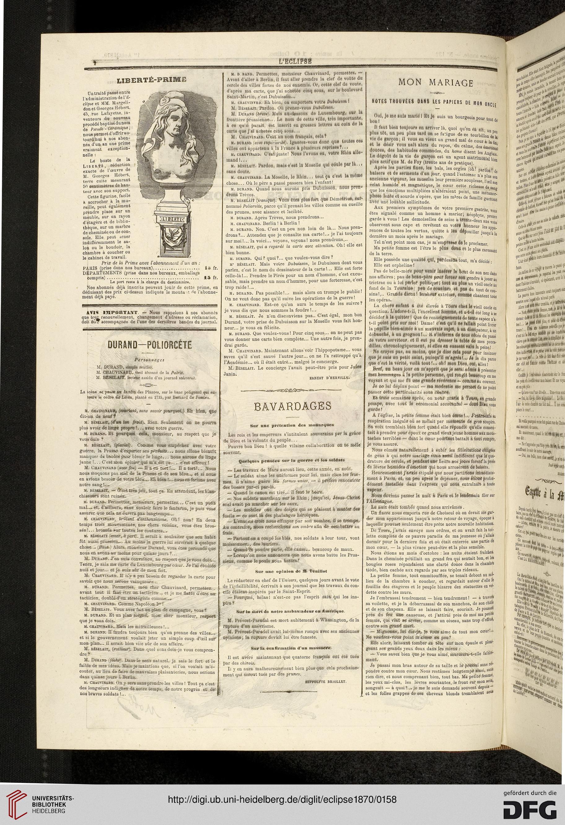 L' Eclipse journal hebdomadaire politique, satirique et illustré ...