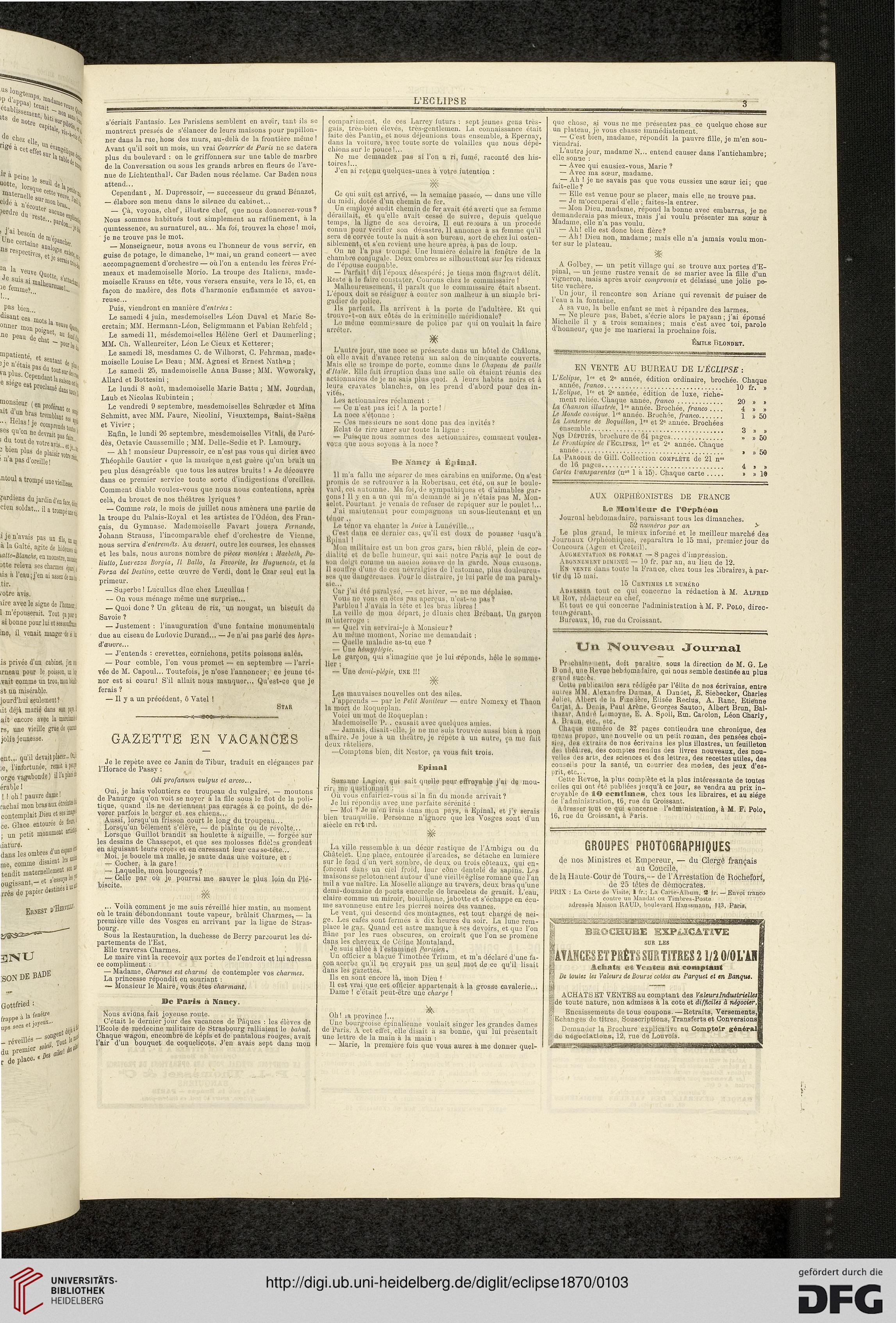 L\' Eclipse: journal hebdomadaire politique, satirique et illustré ...