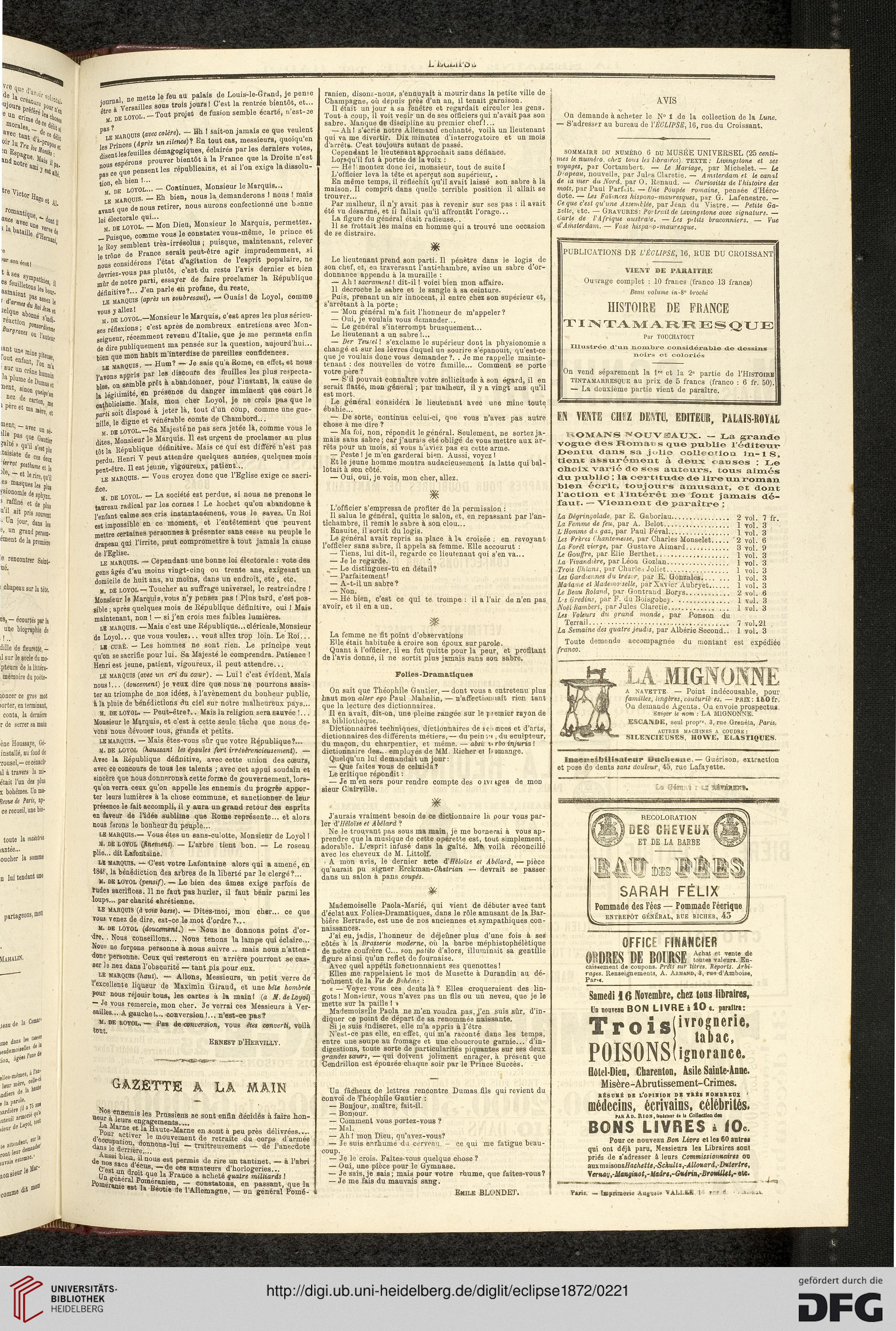 L Eclipse Journal Hebdomadaire Politique Satirique Et Illustre 51872