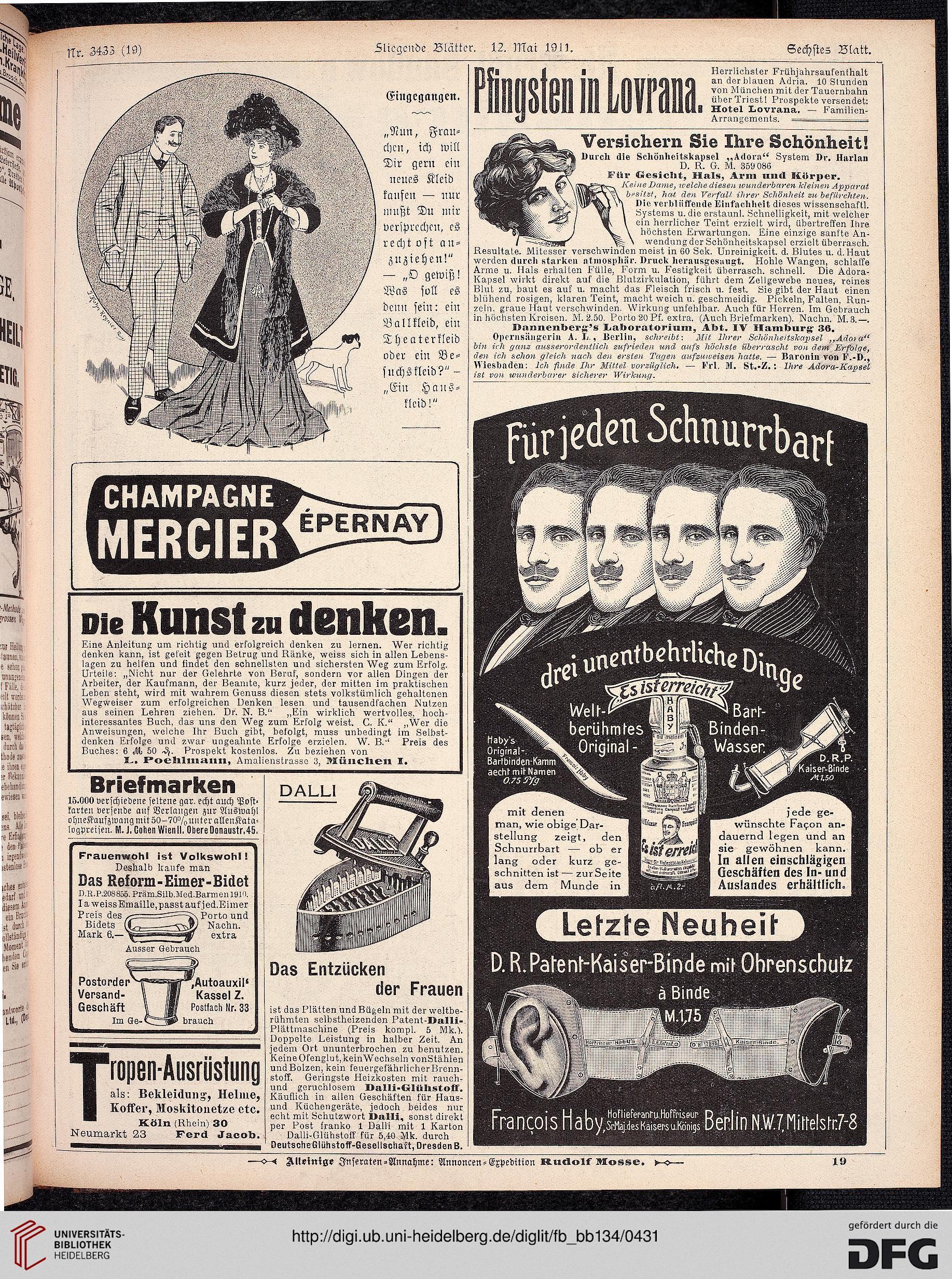 beiblatt der fliegenden blätter (134.1911 (nr. 3415-3440))