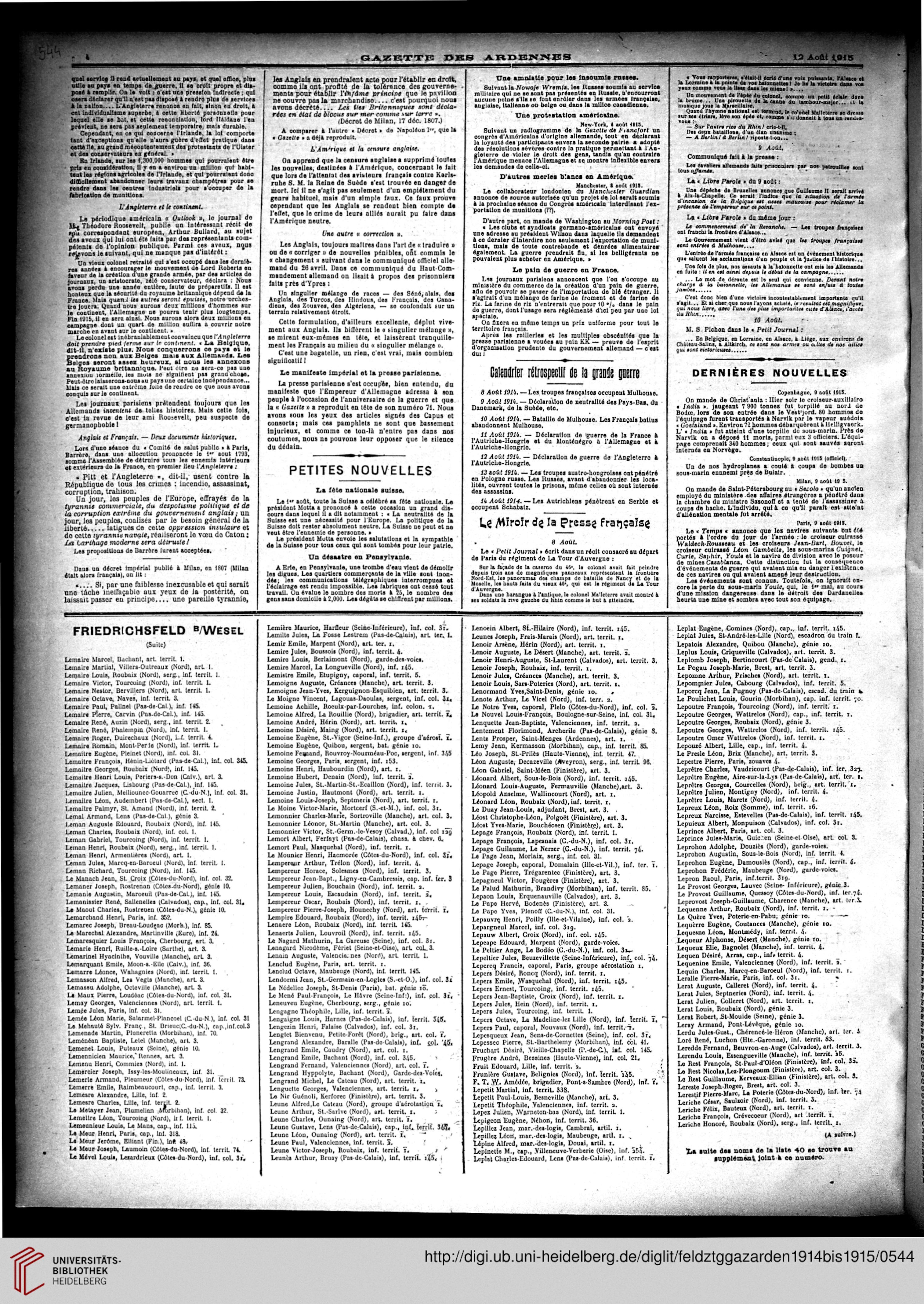 Gazette Des Ardennes Journal Pays Occupes November 1914