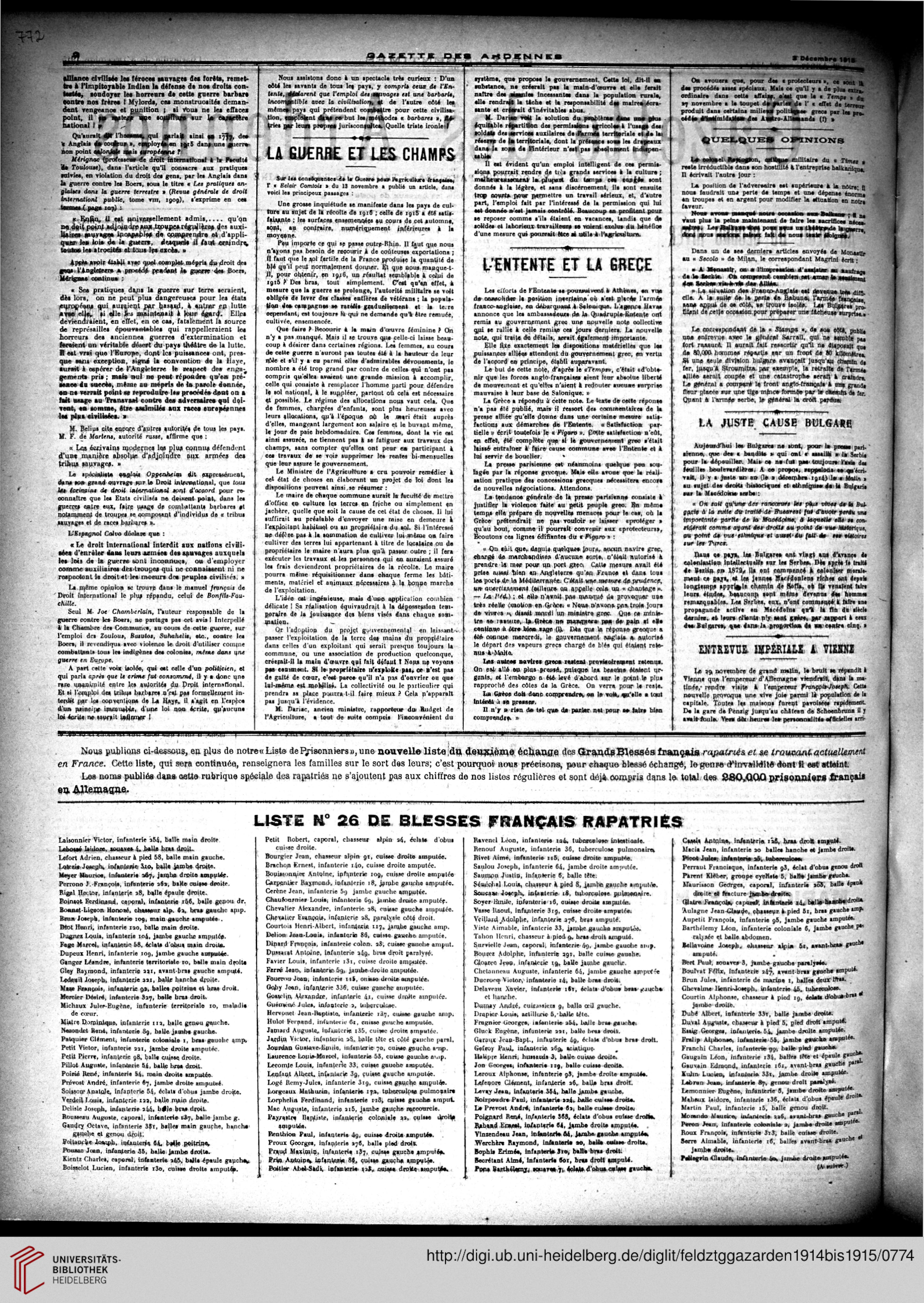 Gazette Des Ardennes Journal Des Pays Occupes November 1914