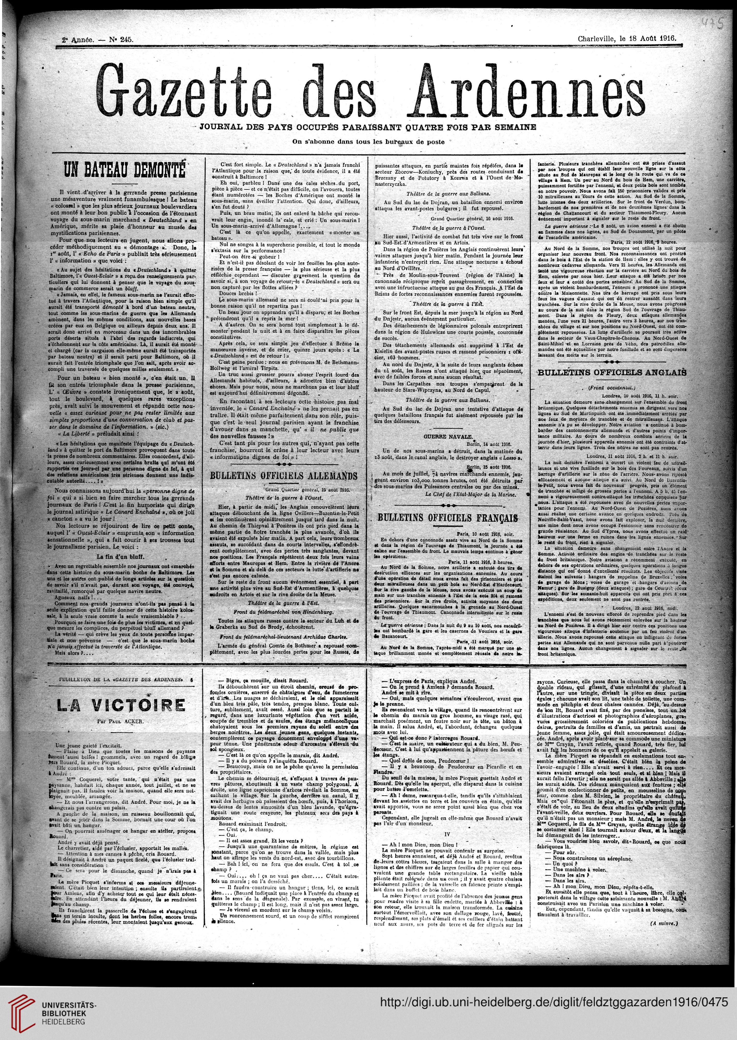 Gazette Des Ardennes Journal Pays Occupes Januar 1916