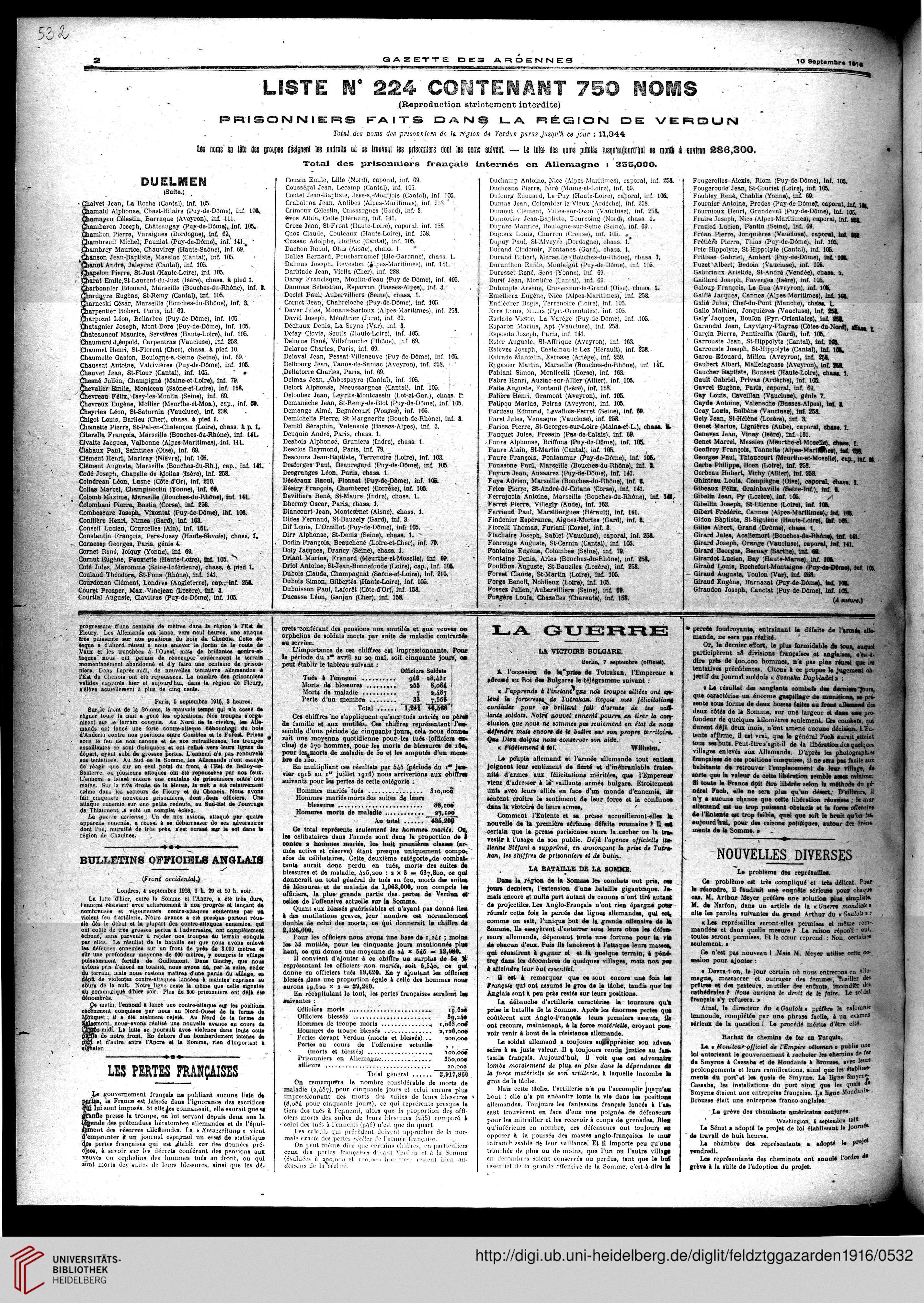 9c53c7d790 Gazette des Ardennes  journal des pays occupés (Januar 1916 - Dezember 1916)