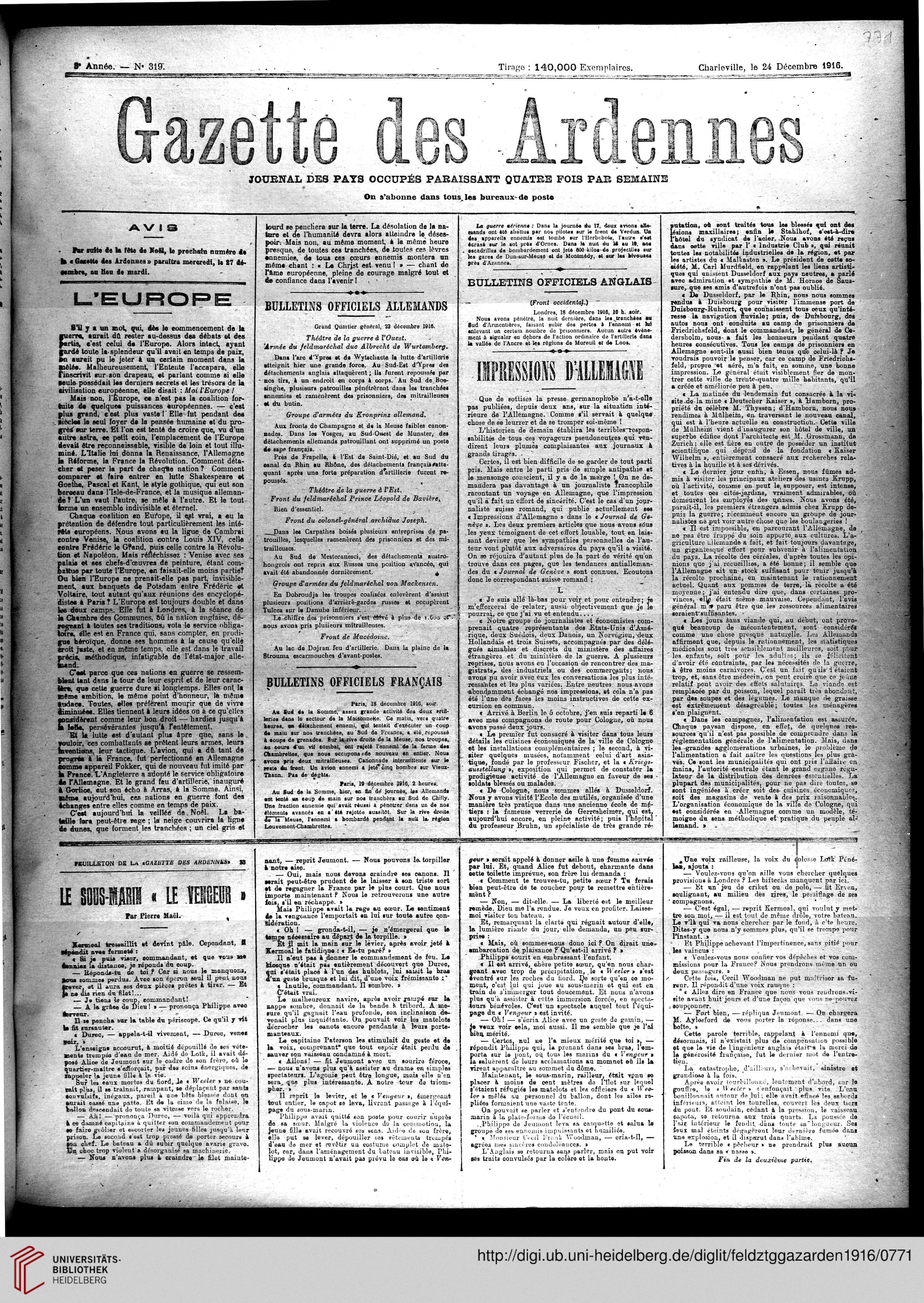 Gazette des Ardennes journal des pays occupés Januar 12 ...