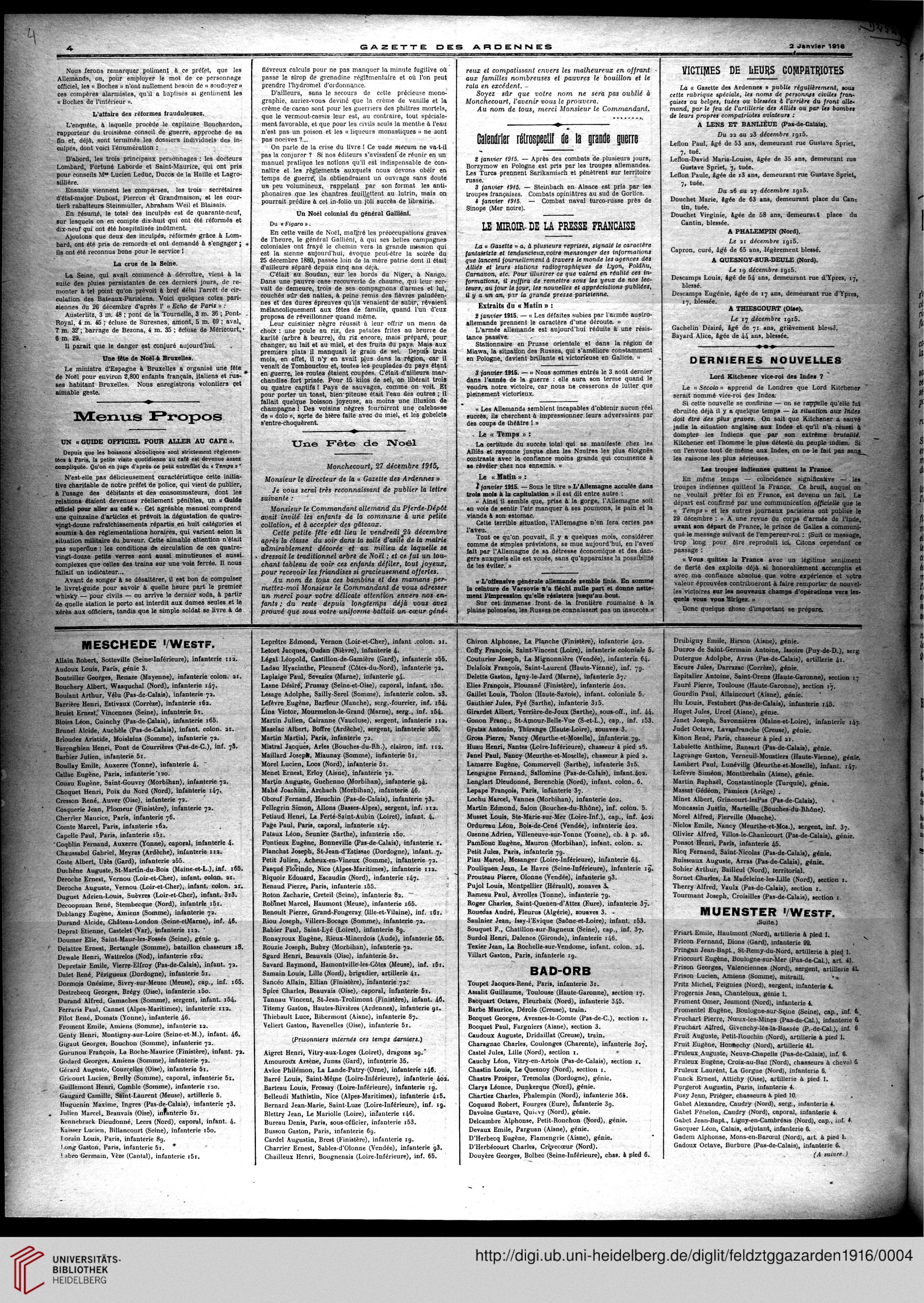 Gazette des Ardennes: journal des pays occupés (Januar 1916 ...