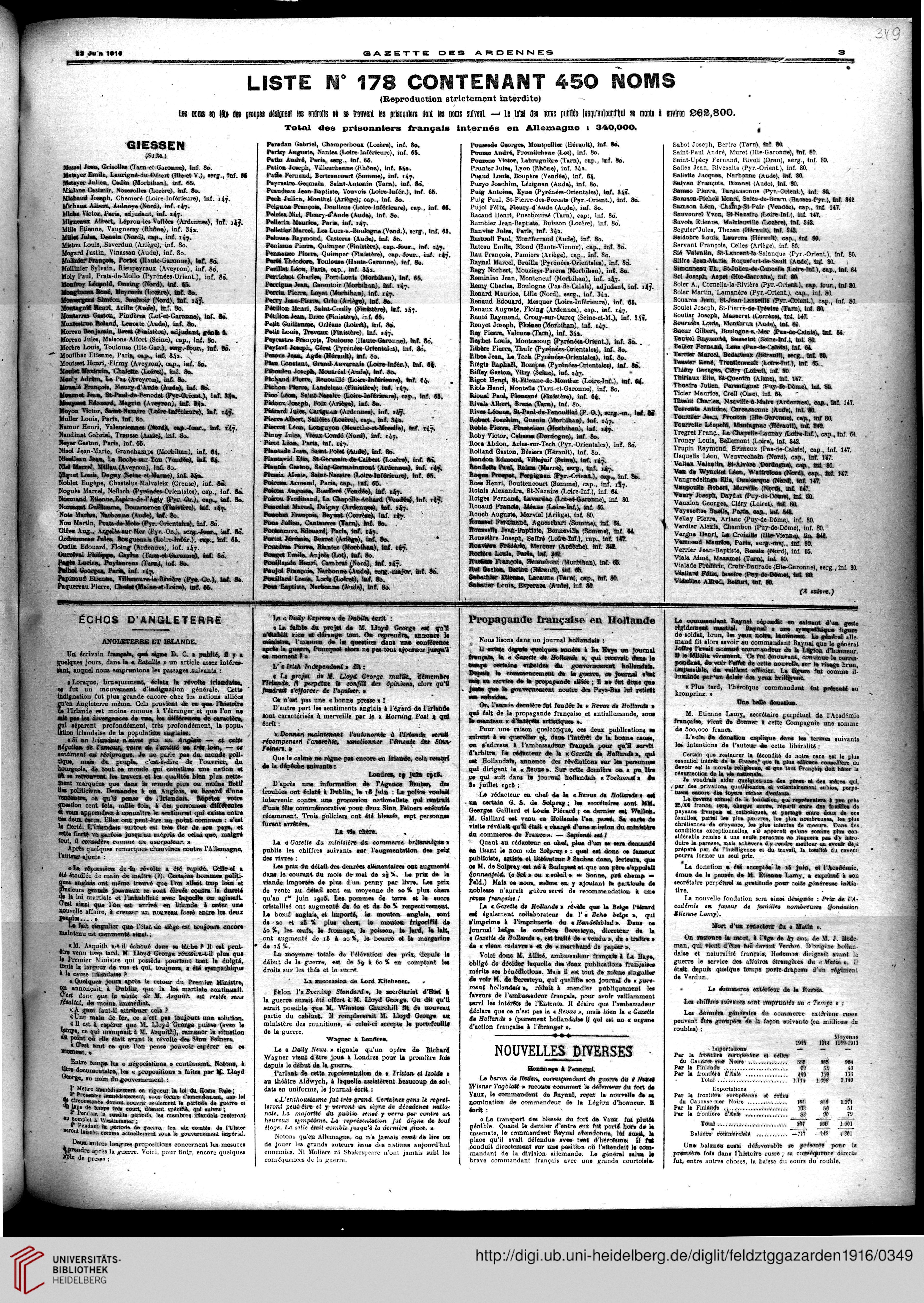 Meuble Pion Saint Laurent Du Var   Gazette Des Ardennes Journal Des Pays Occupes Januar 1916