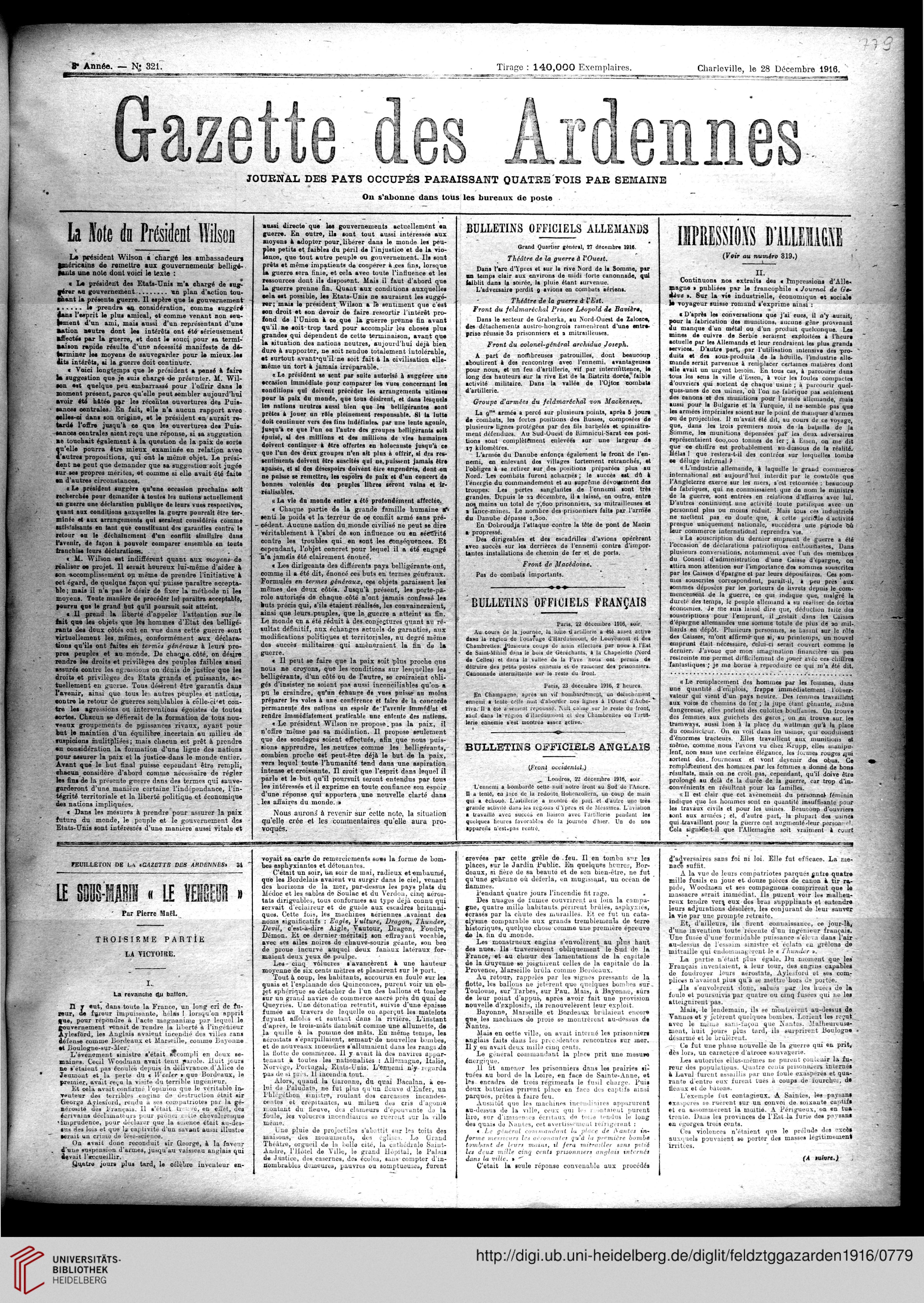 Gazette des Ardennes journal des pays occupés Januar 1916