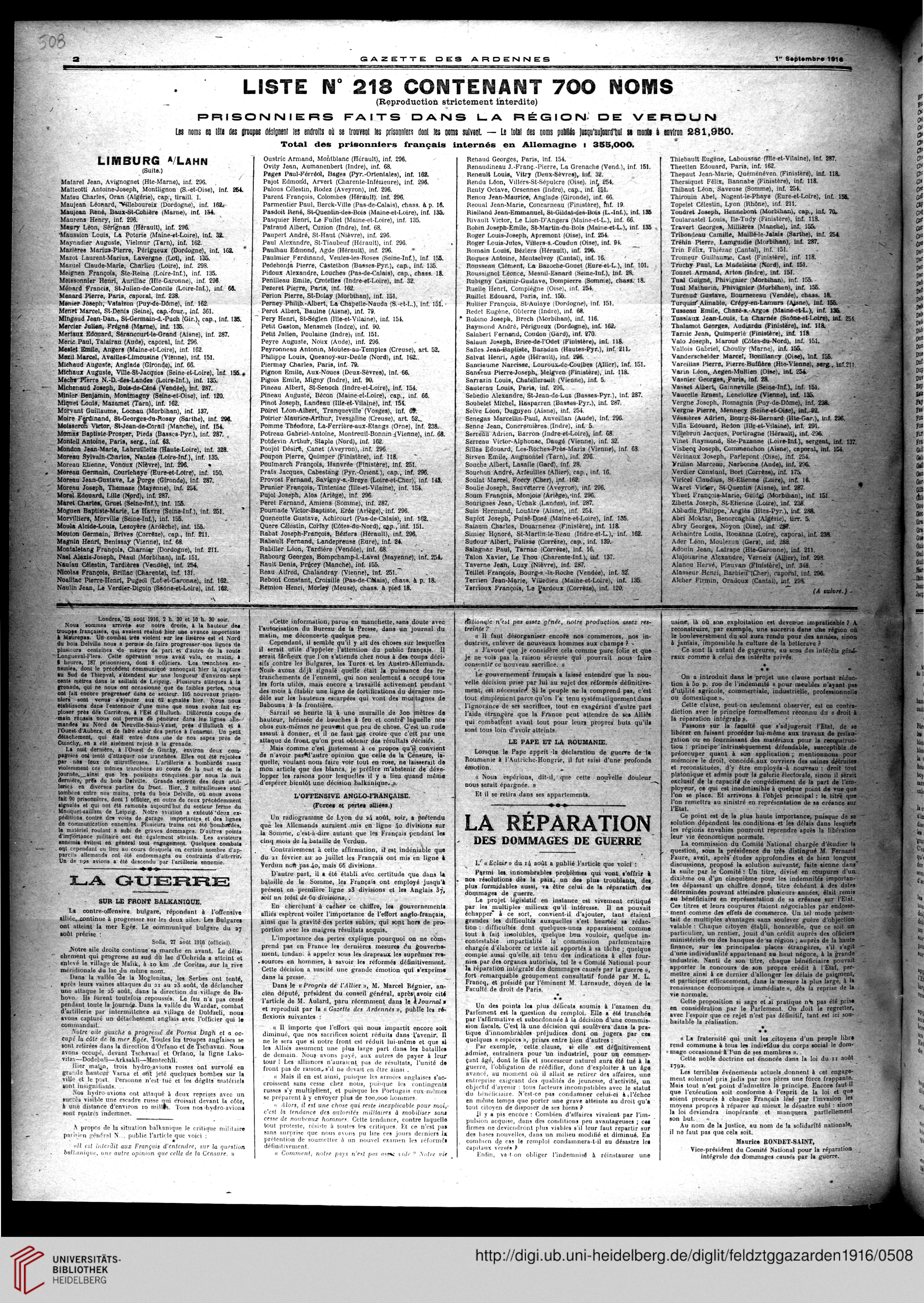 Gazette Des Ardennes Journal Pays Occupes Januar 1916