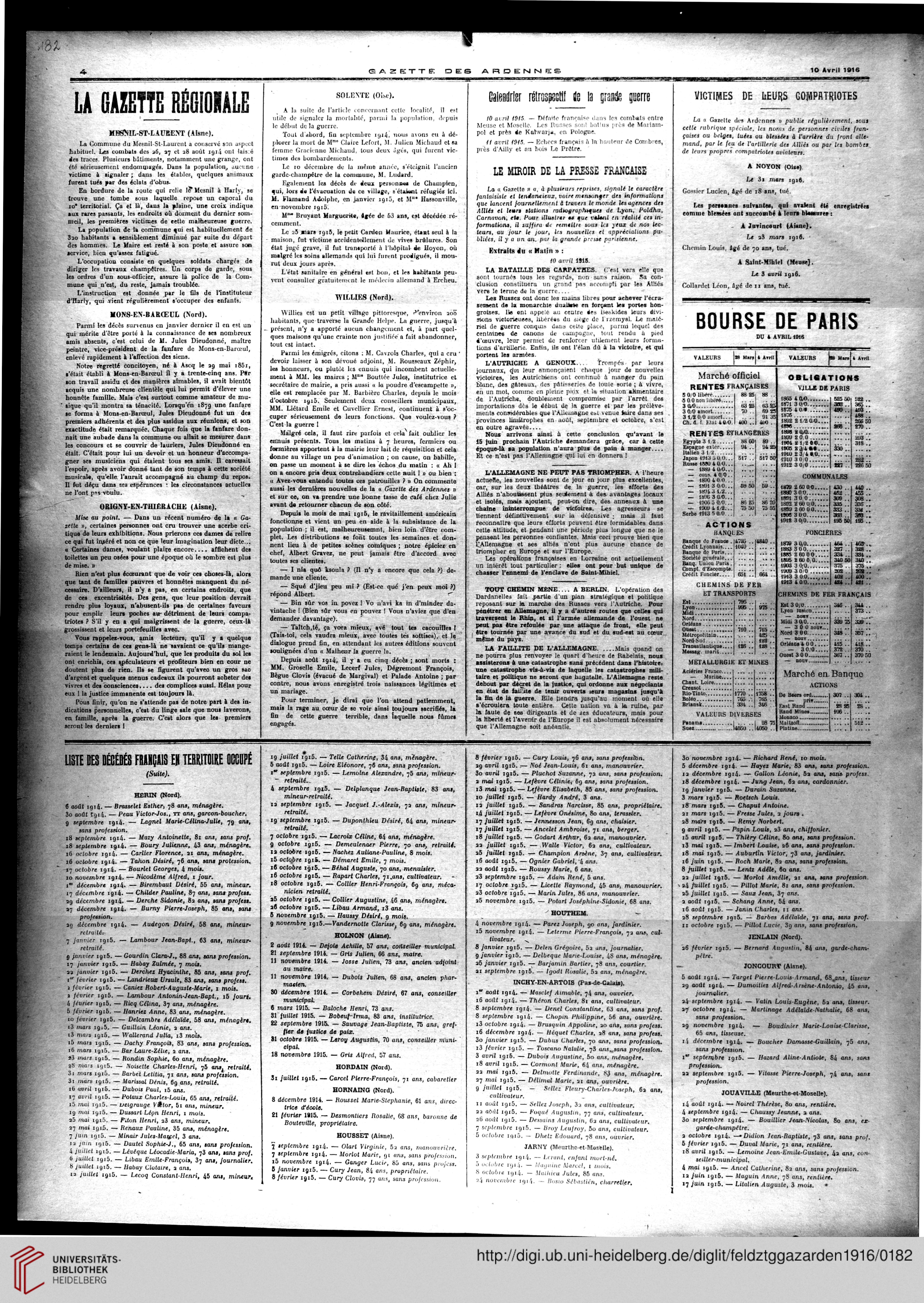 Gazette Des Ardennes Journal Des Pays Occupes Januar 1916