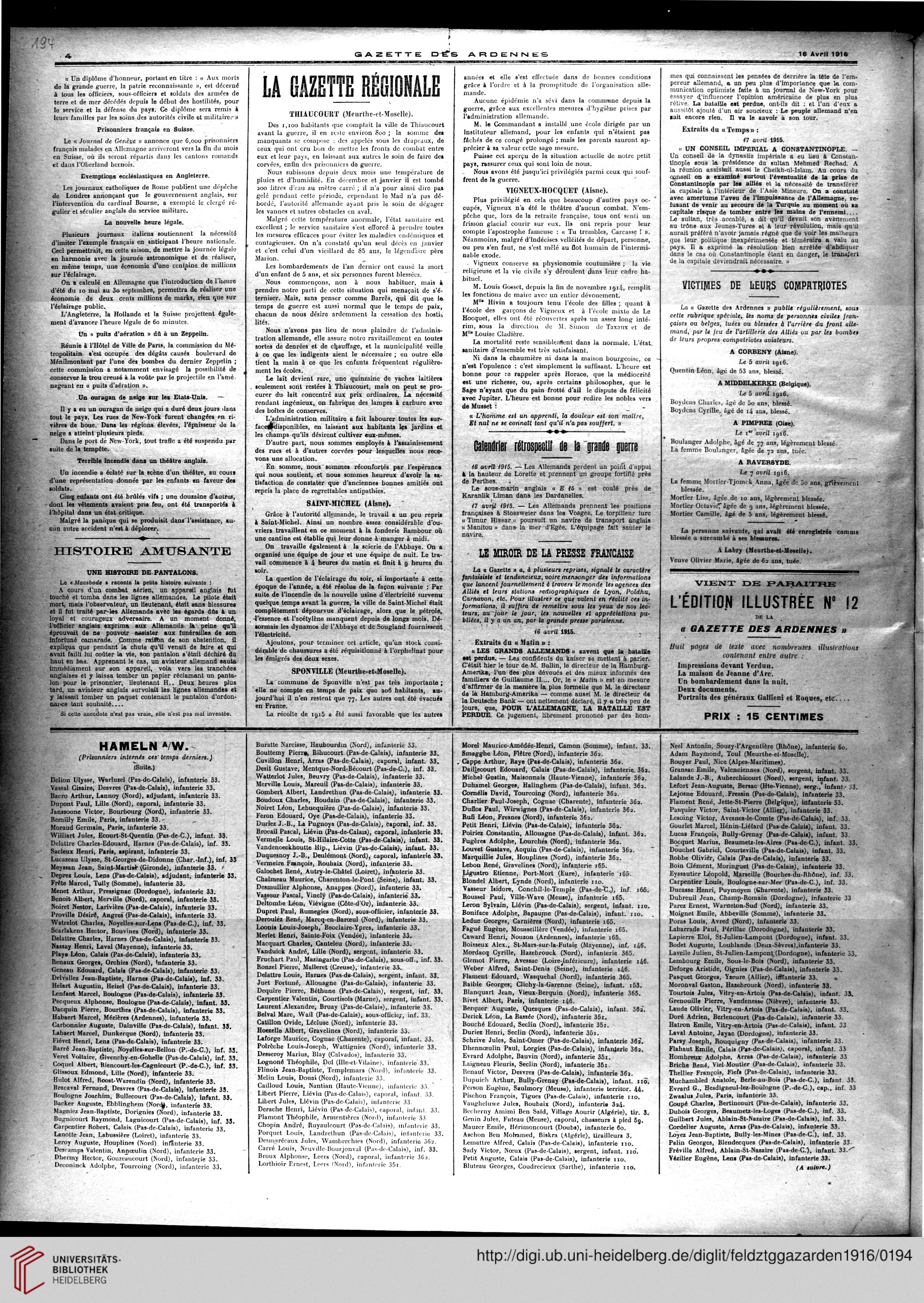 Gazette des Ardennes journal des pays occupés Januar 12