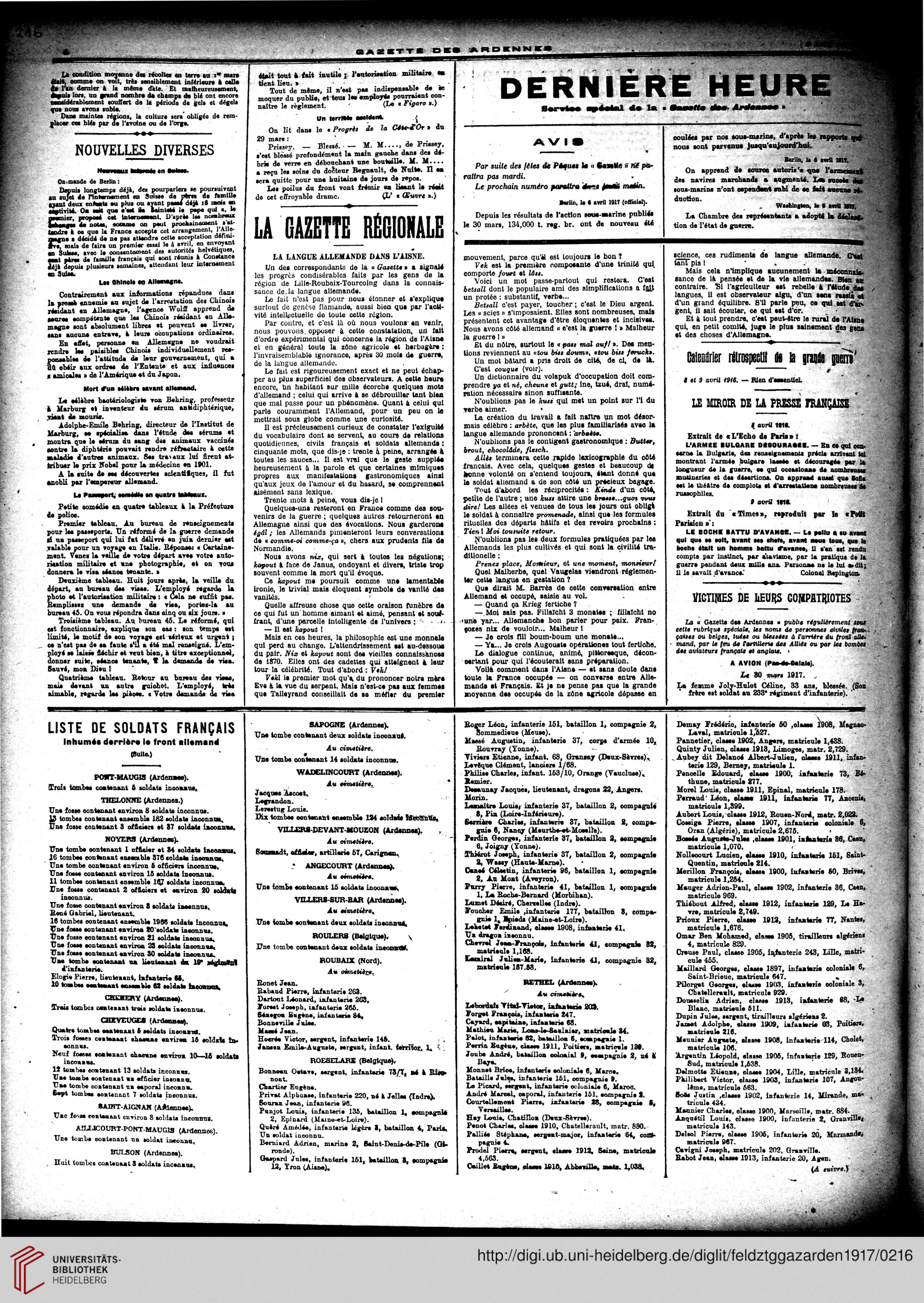 Gazette des Ardennes: journal des pays occupés (Januar 1917 ...