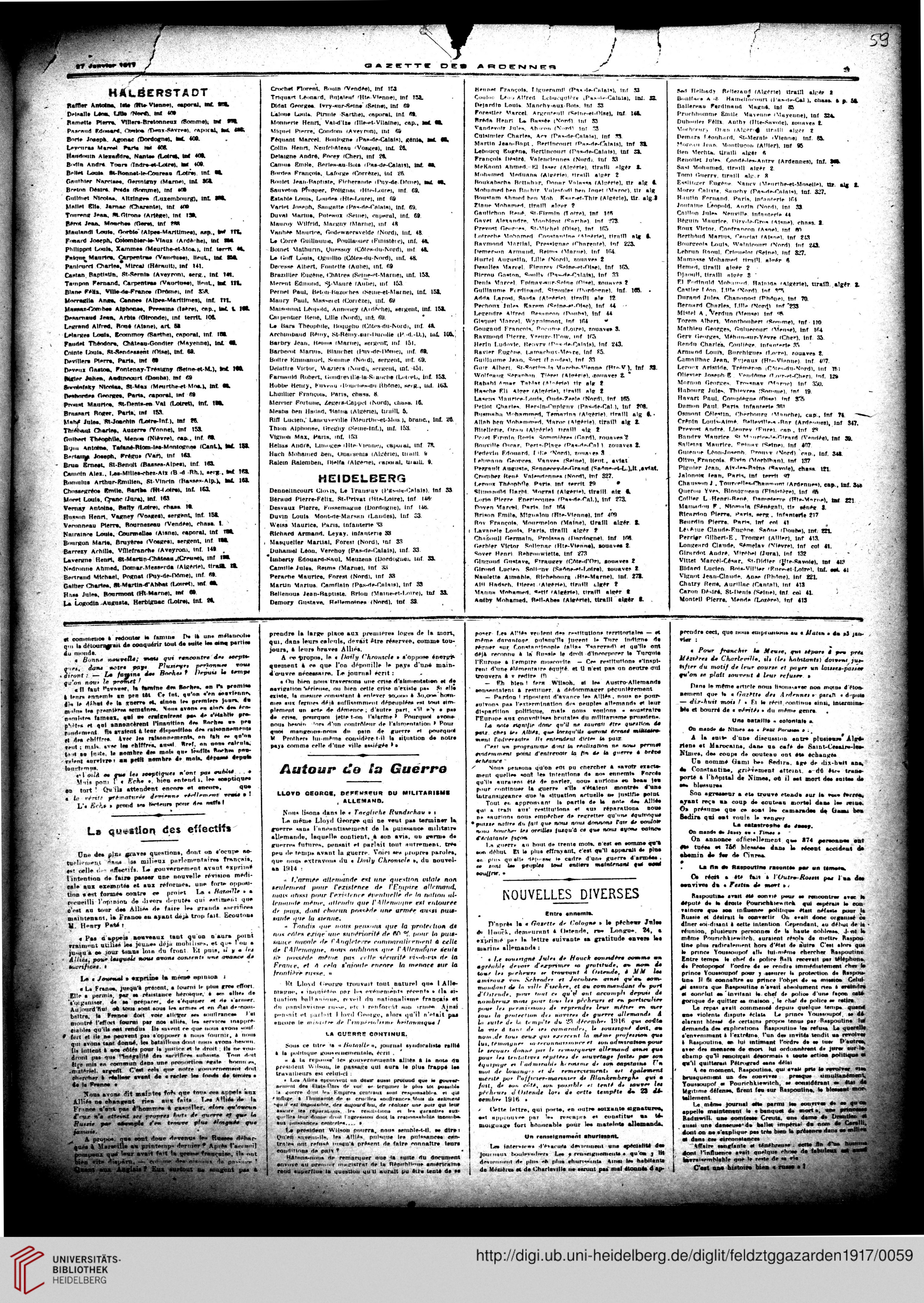 Gazette Des Ardennes Journal Des Pays Occupes Januar 1917