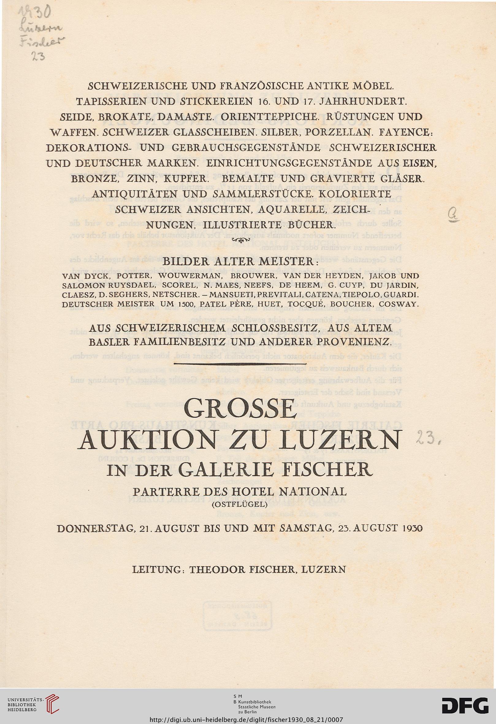Galerie Fischer U003cLuzernu003e [Hrsg.]: Schweizerische Und Französische Antike  Möbel, Tapisserien Und Stickereien 16. Und 17. Jahrhundert, Seide, Brokate,  Damaste ...