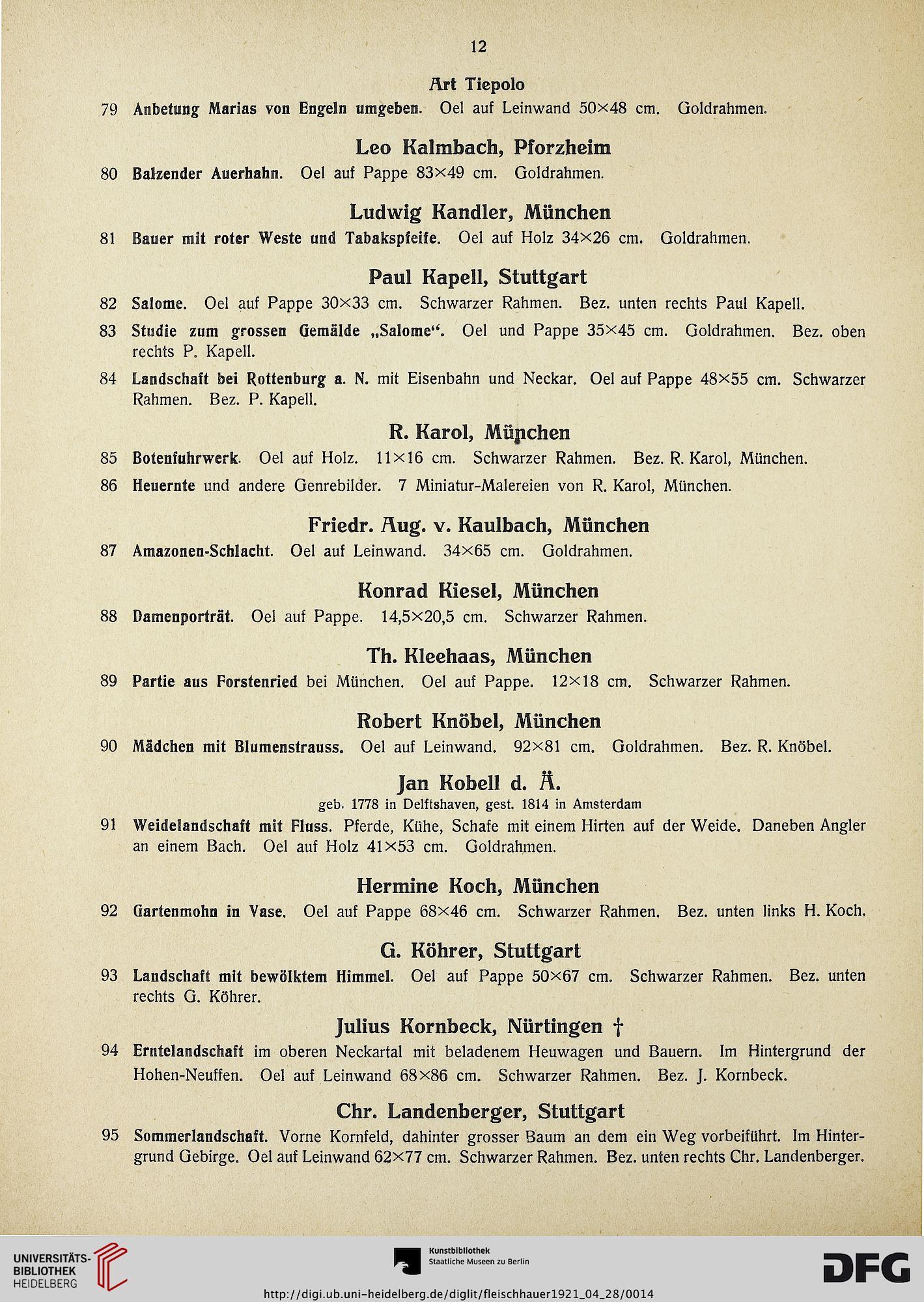 Felix Fleischhauer <Stuttgart> [Hrsg.]: Gemälde alter und moderner ...
