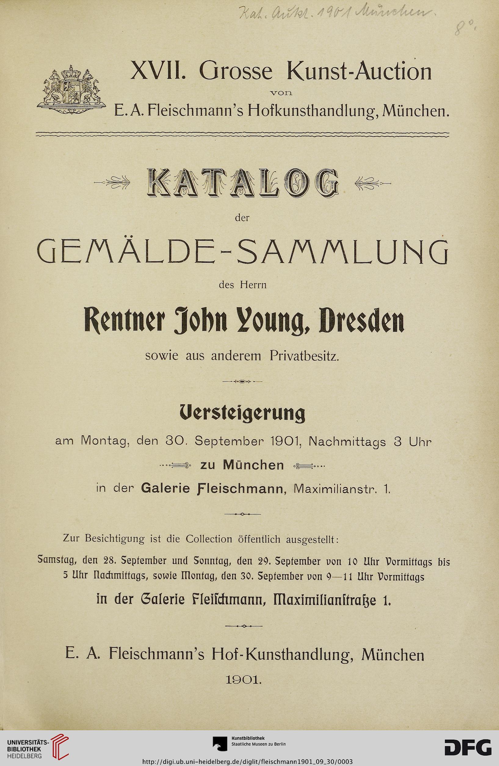 E A Fleischmanns Hofkunsthandlung München Hrsg Katalog Der