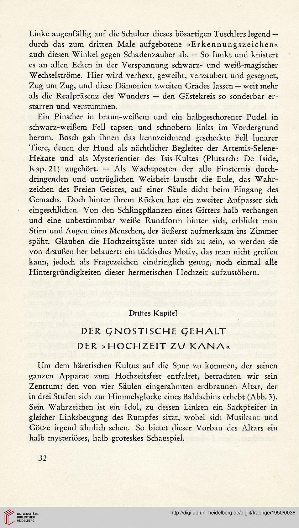 Fraenger, Wilhelm: Hochzeit zu Kana: ein Dokument semitischer Gnosis ...
