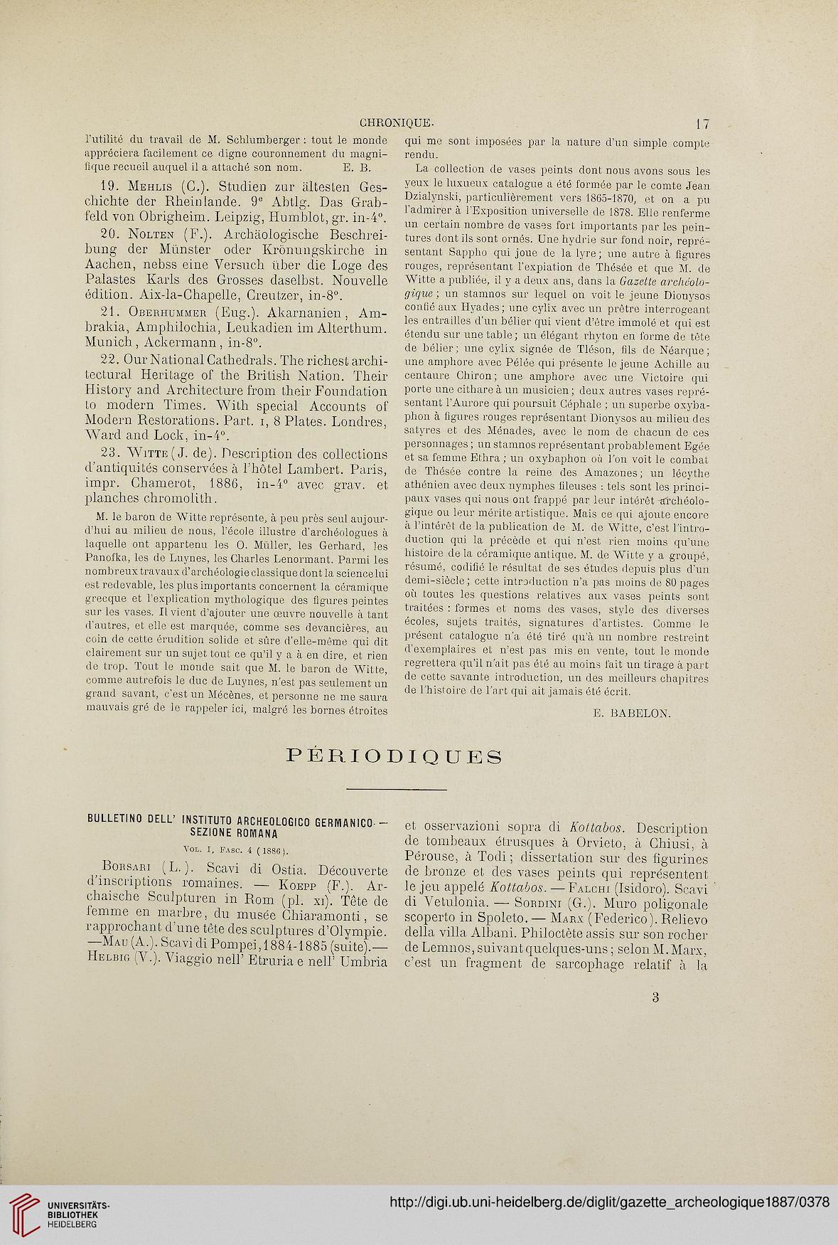 Gazette Archeologique Revue Des Musees Nationaux 12 1887