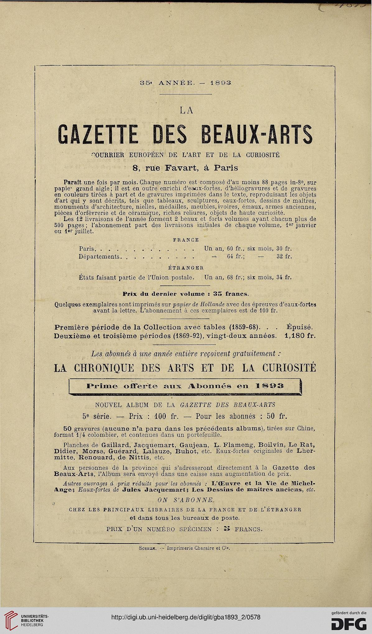 Gazette Des Beaux Arts La Doyenne Revues Dart 3 Per 101893