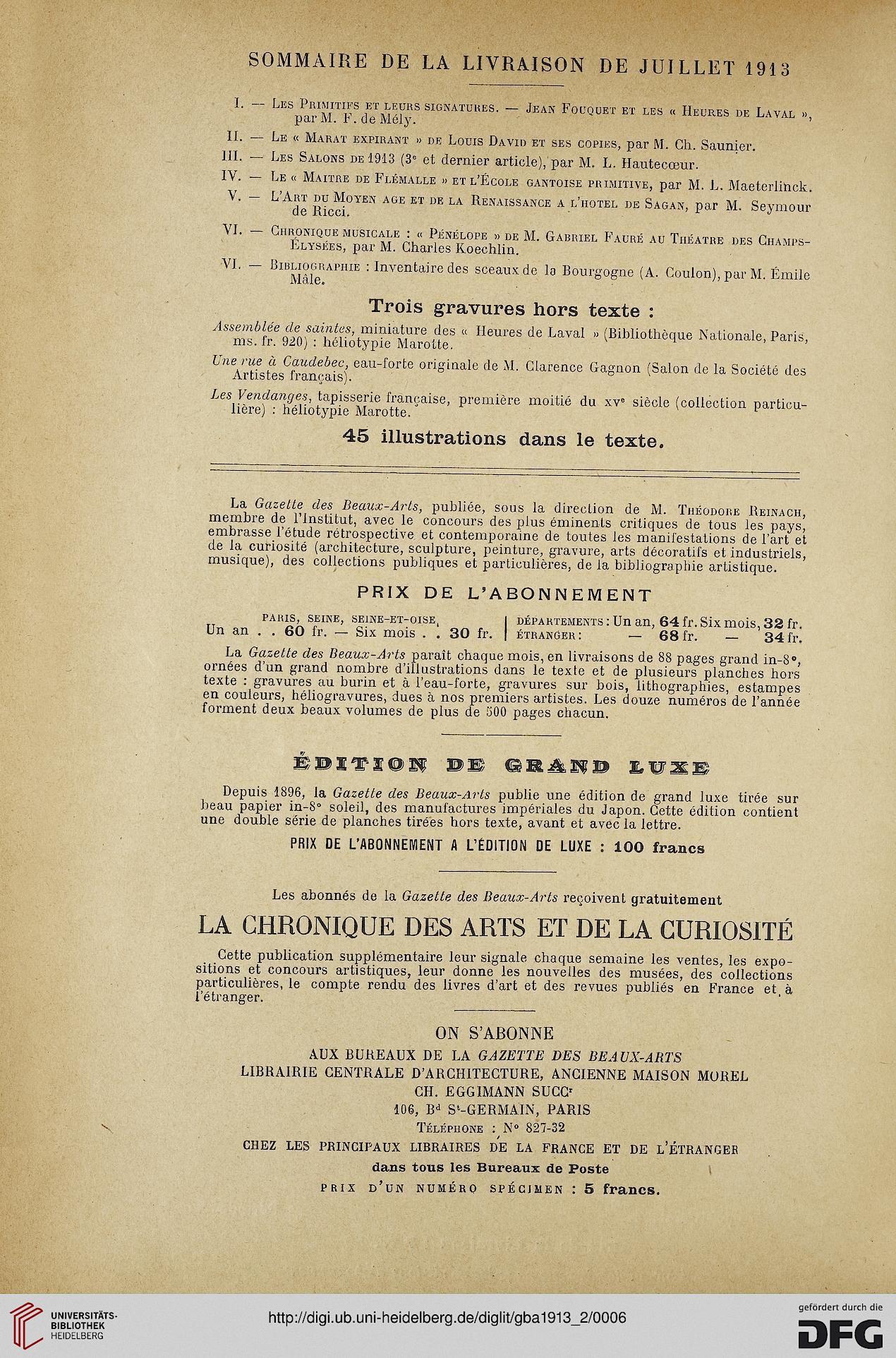 Gazette Des Beaux Arts La Doyenne Revues Dart 4 Per 101913