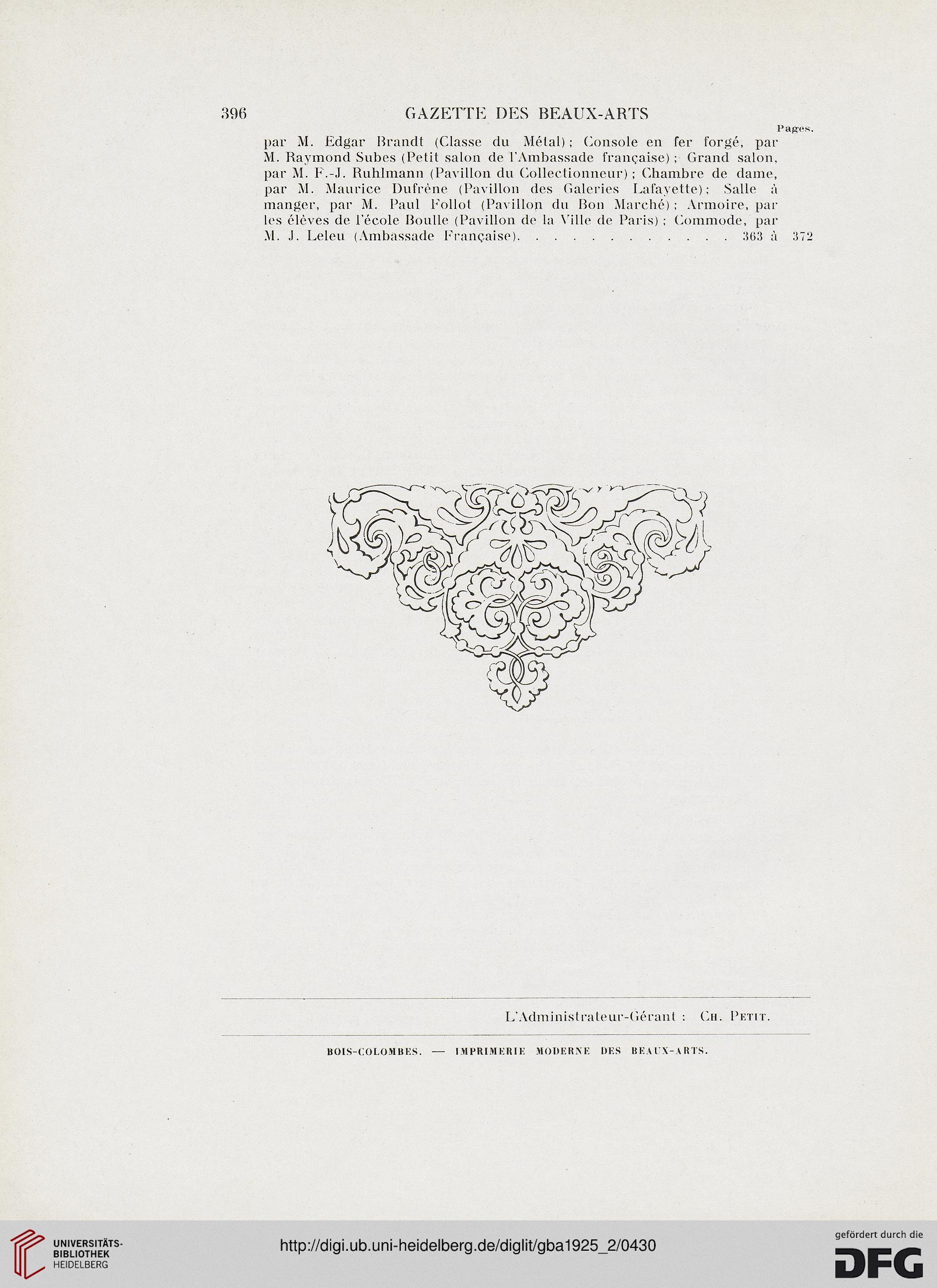 Imprimerie Bois Colombes - Gazette des beaux arts la doyenne des revues d'art (5 Pér 12 1925)