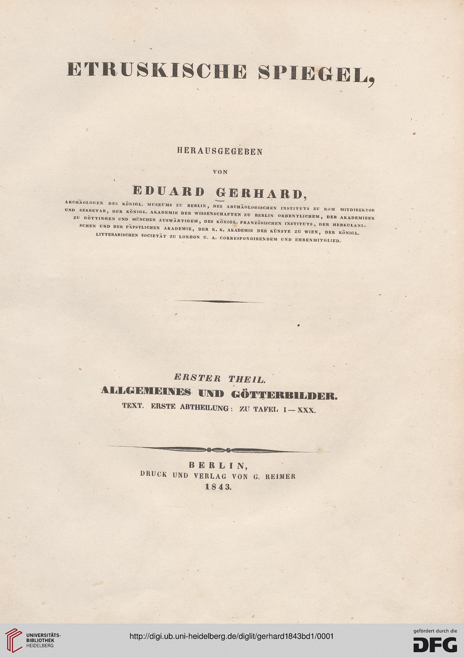Gerhard eduard hrsg etruskische spiegel band 1 for Spiegel titelblatt