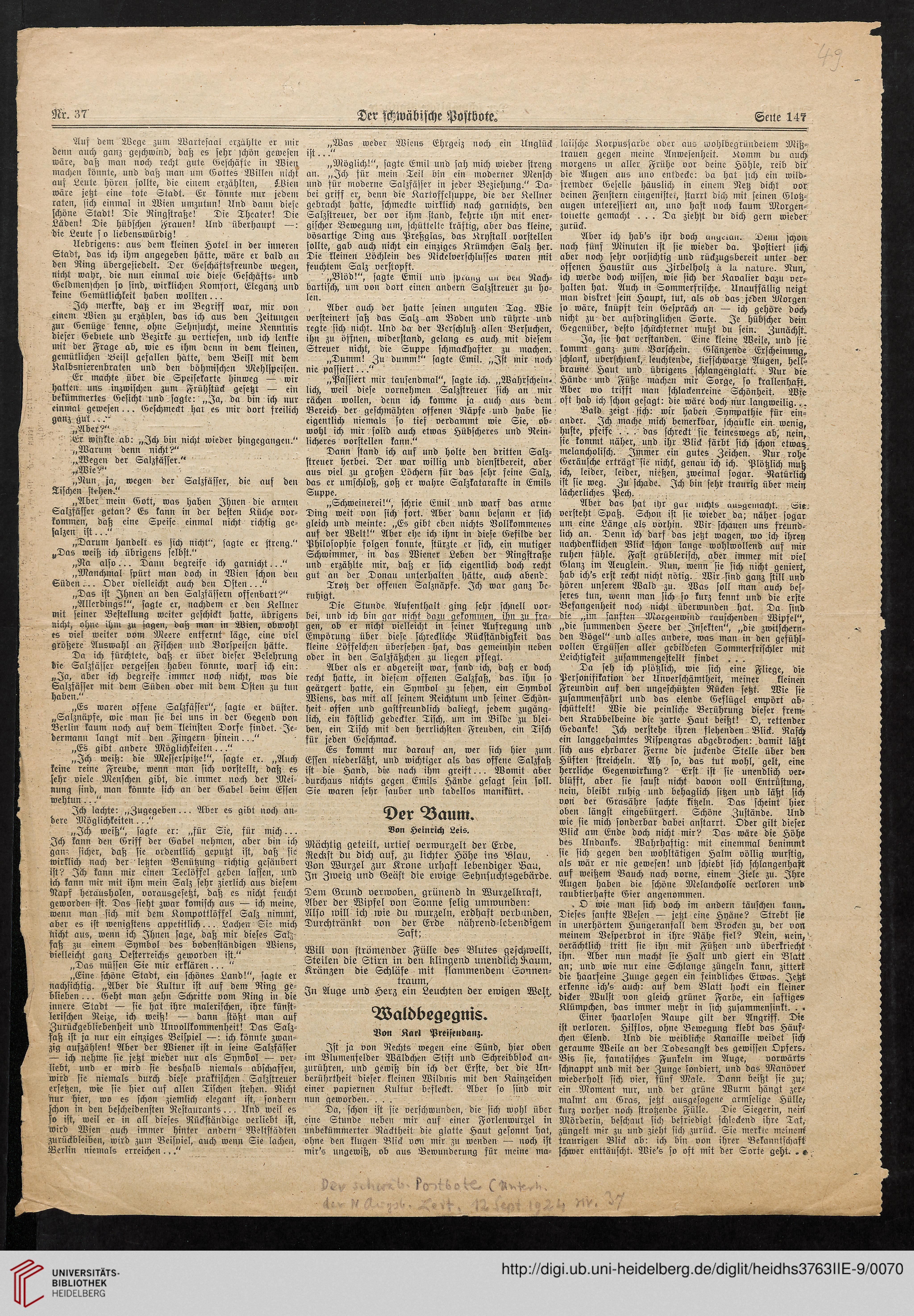 Preisendanz Karl Zeitungsausschnitte 1904 1935