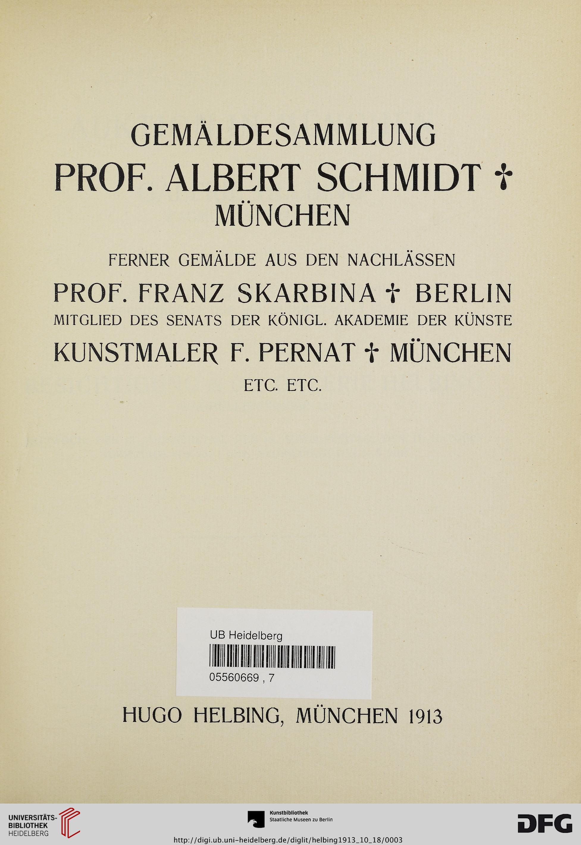 Hugo Helbing München Hrsg Gemäldesammlung Professor Albert