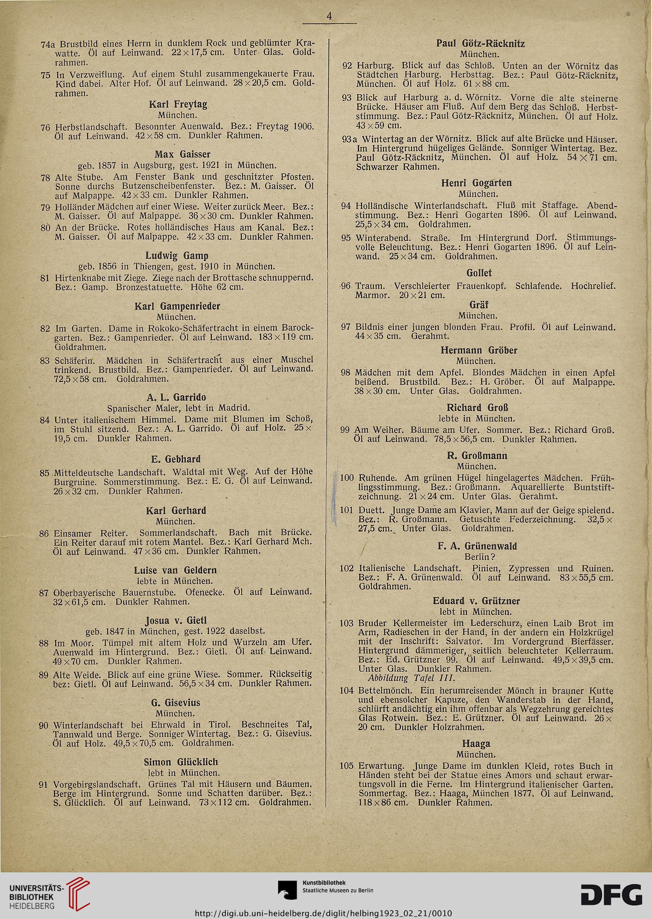 Hugo Helbing <München> [Hrsg.]: Ölgemälde und Handzeichnungen ...