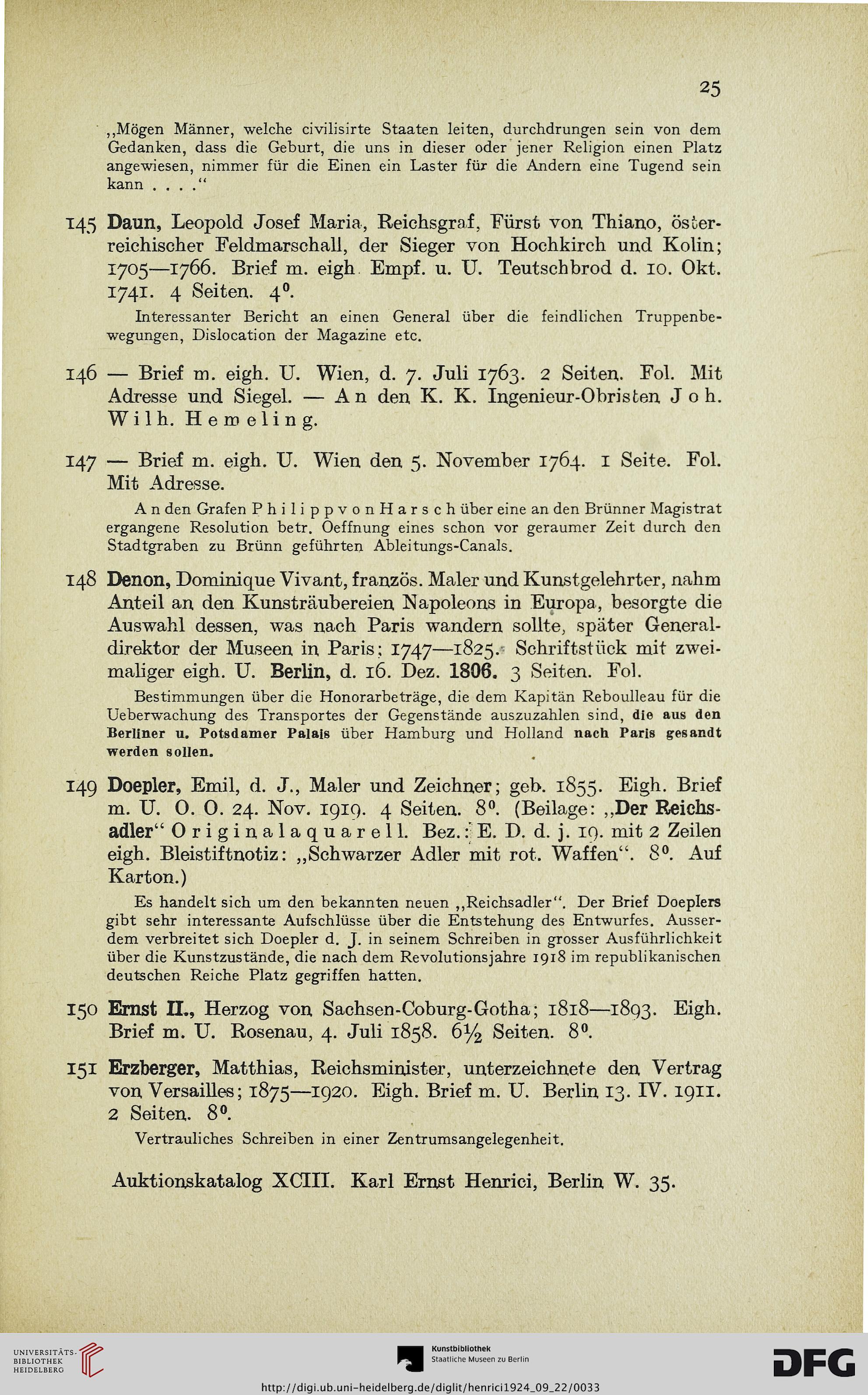 Karl Ernst Henrici Berlin Hrsg Historische Autographen Aus