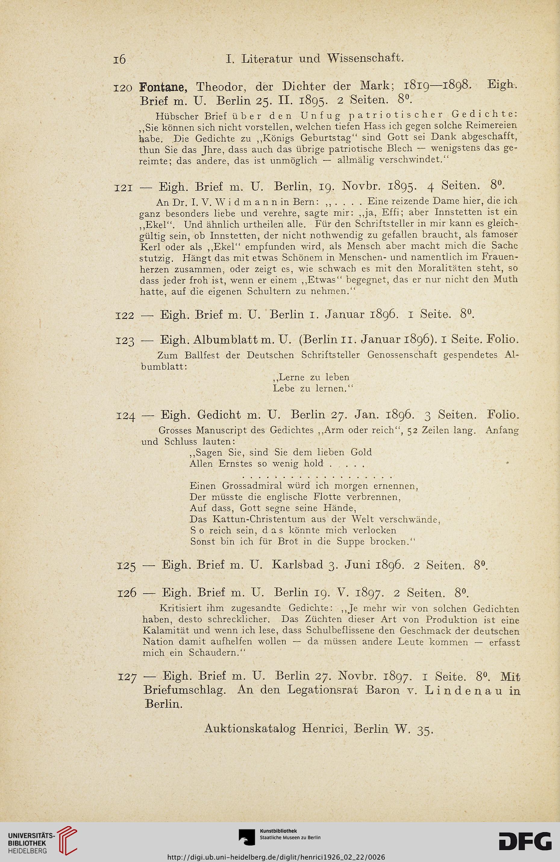 Karl Ernst Henrici Berlin Hrsg Autographen Aus Den Gebieten