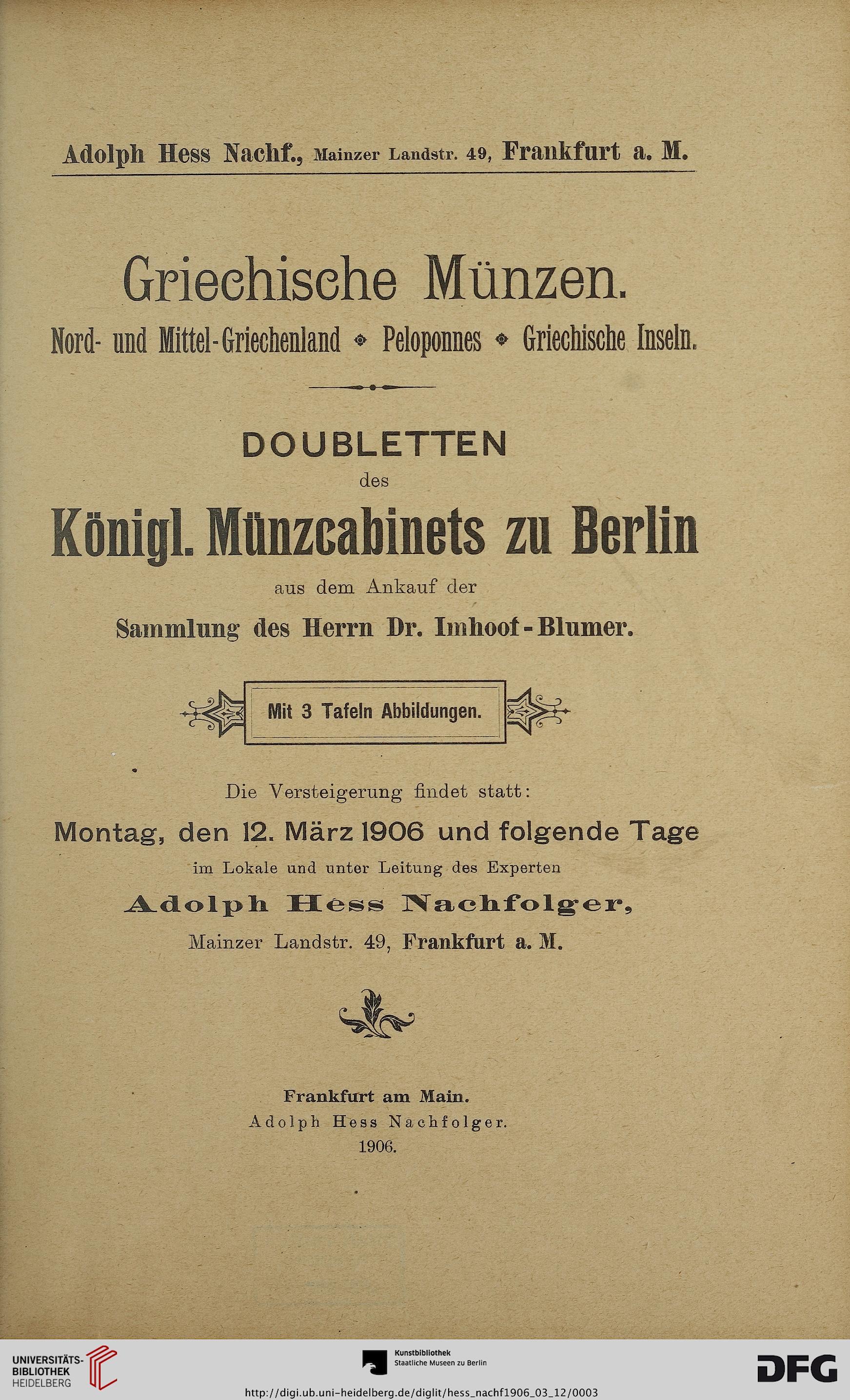 Münzenhandlung Adolph Hess Nachfolger Frankfurt Main Hrsg