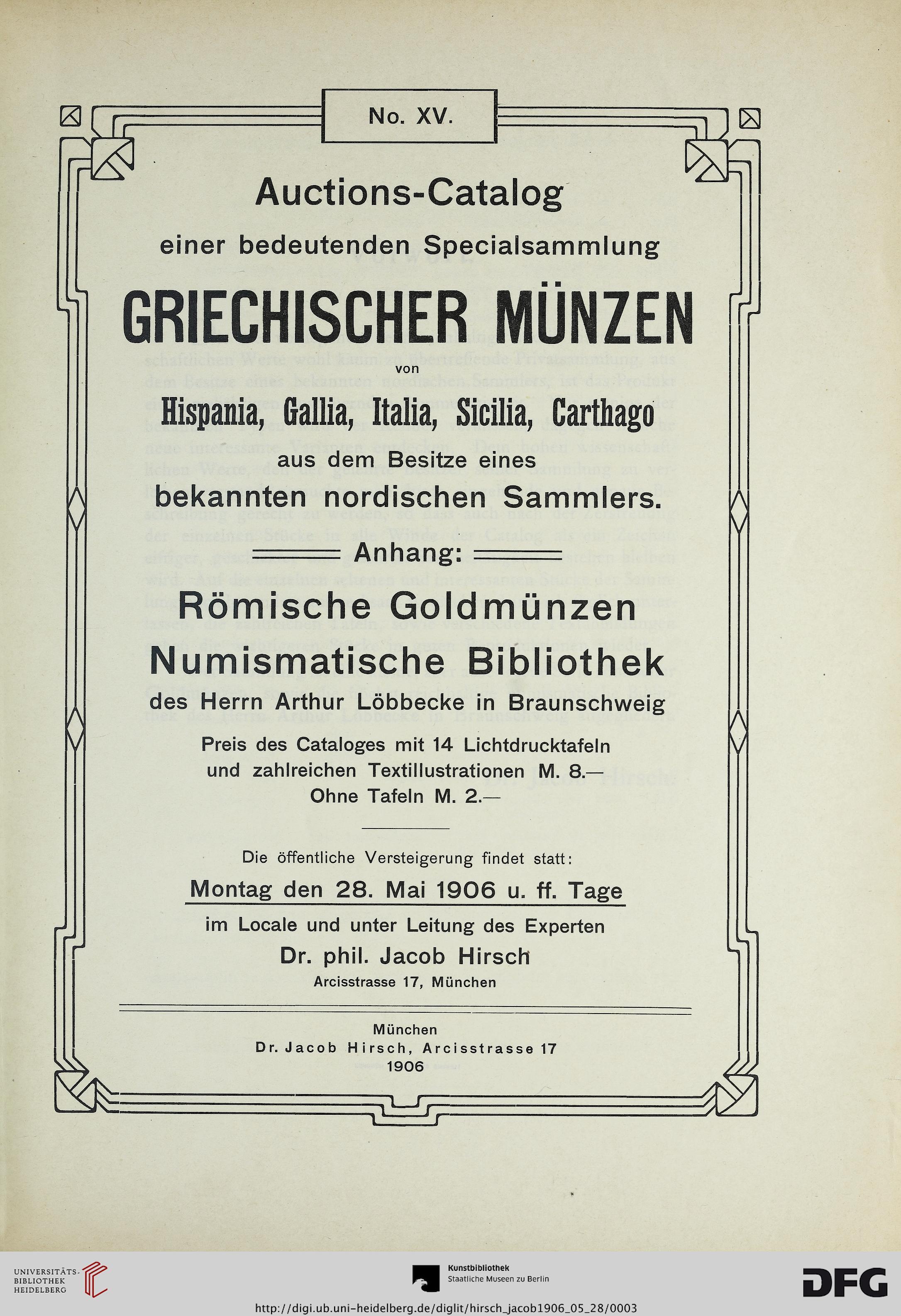 Jacob Hirsch München Hrsg Auctions Catalog Einer Bedeutenden