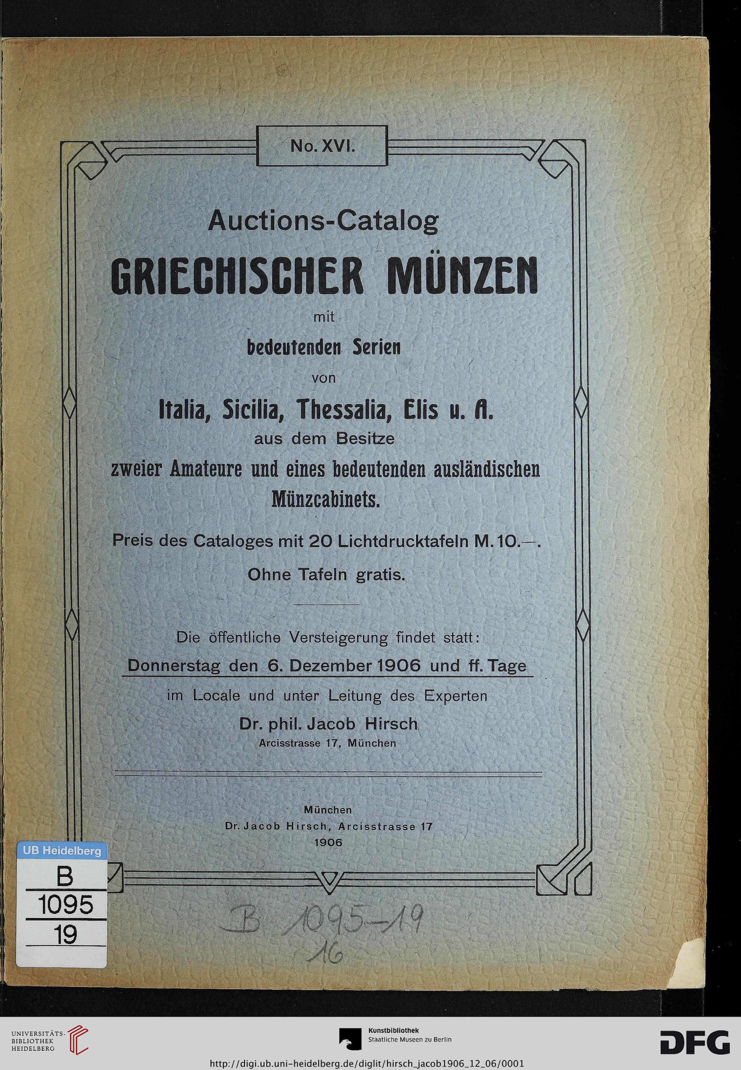 Jacob Hirsch München Hrsg Auctions Catalog Griechischer Münzen