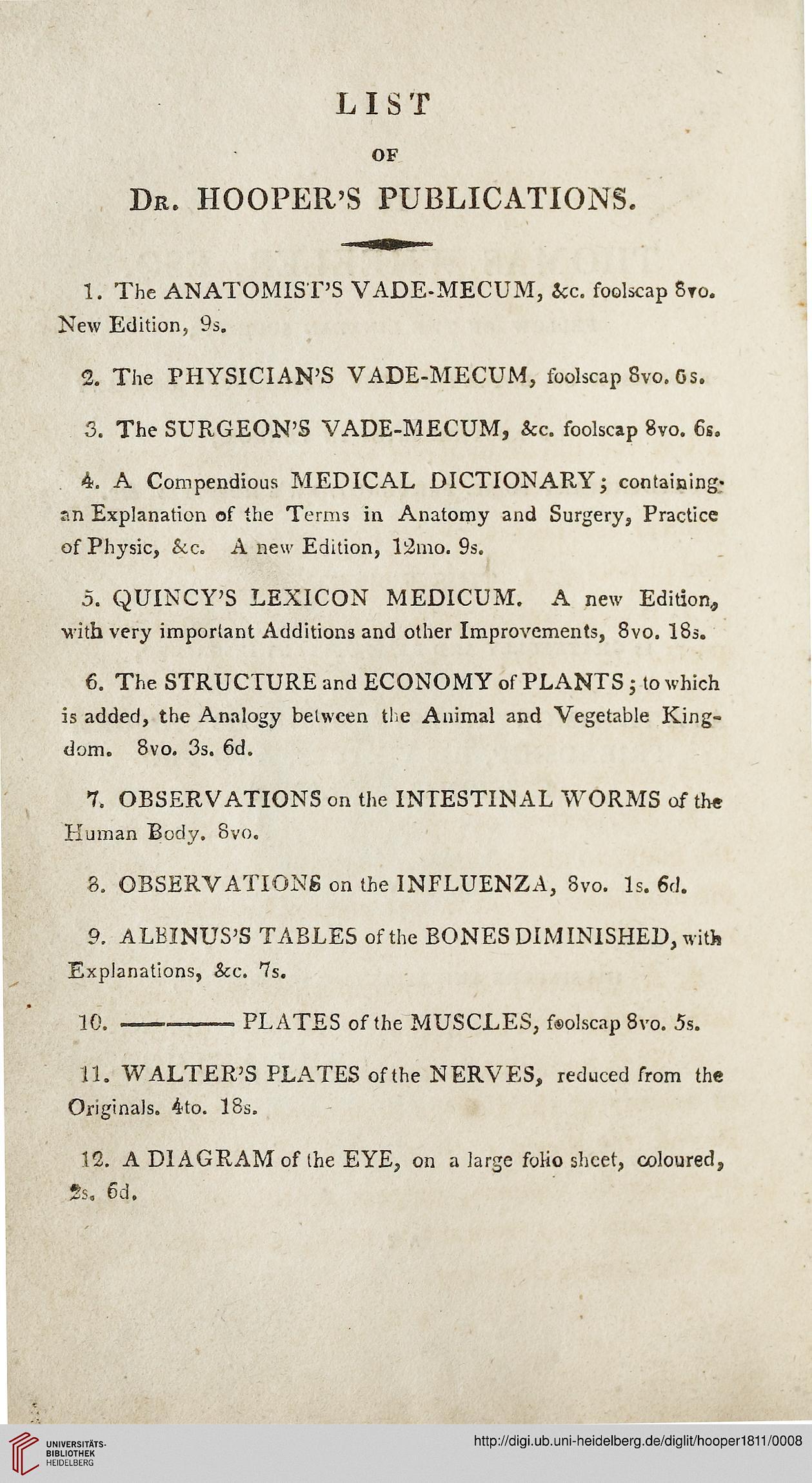 Hooper Robert Hrsg The Anatomists Vade Mecum Containing The