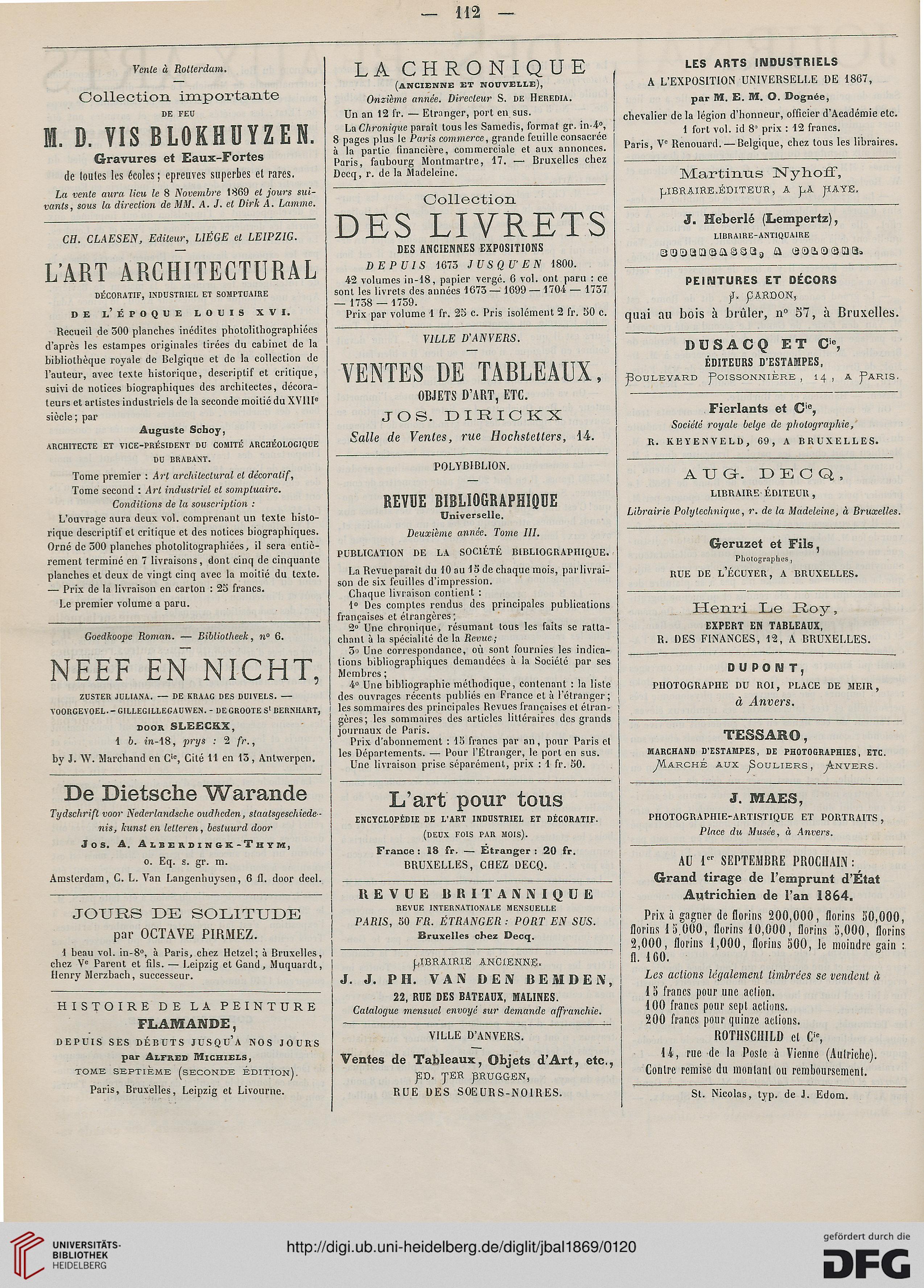 Journal Des Beaux Arts Et De La Litterature 11 1869