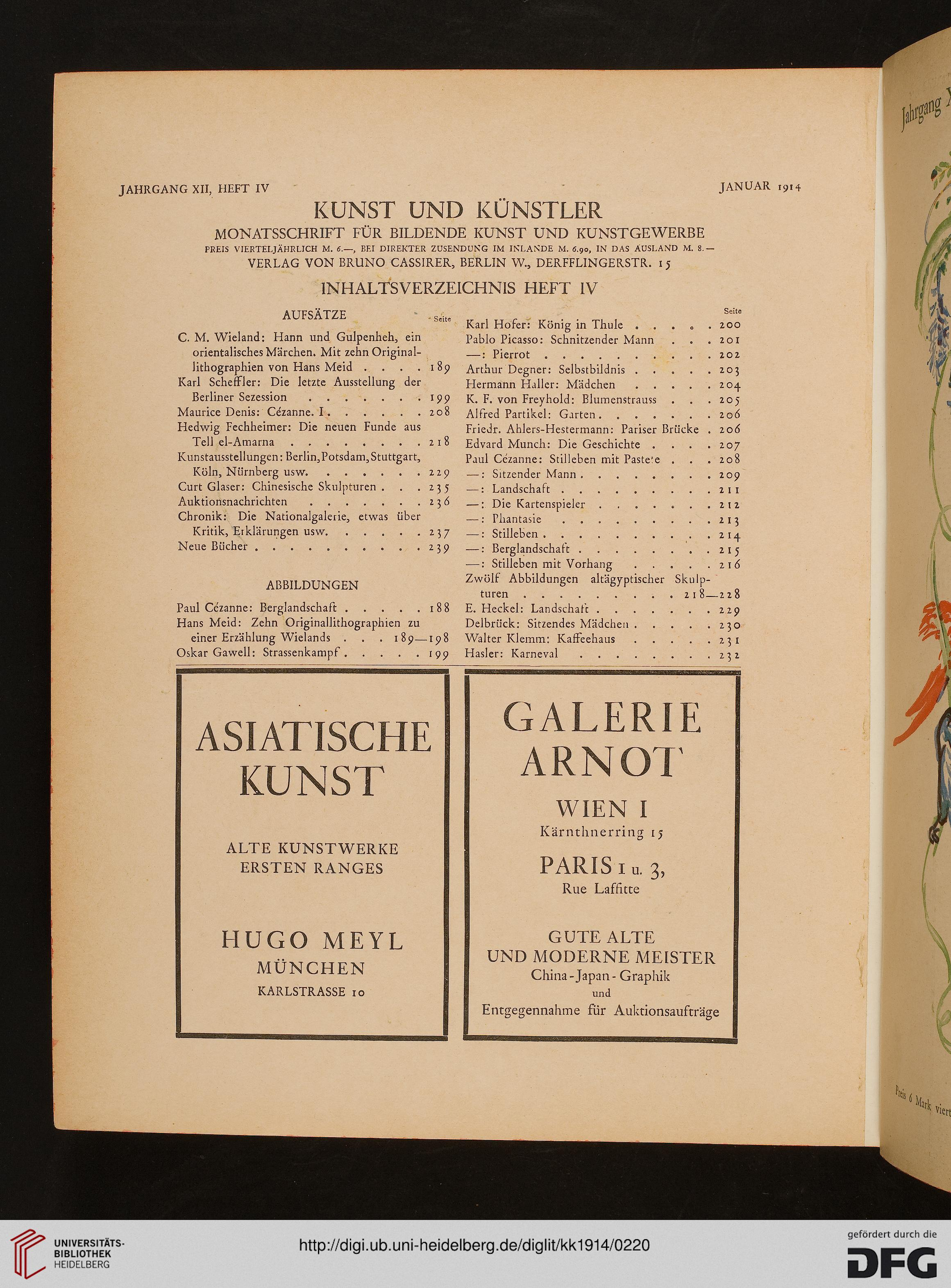 Kunst Und Künstler: Illustrierte Monatsschrift Für Bildende Kunst Und  Kunstgewerbe (12.1914)