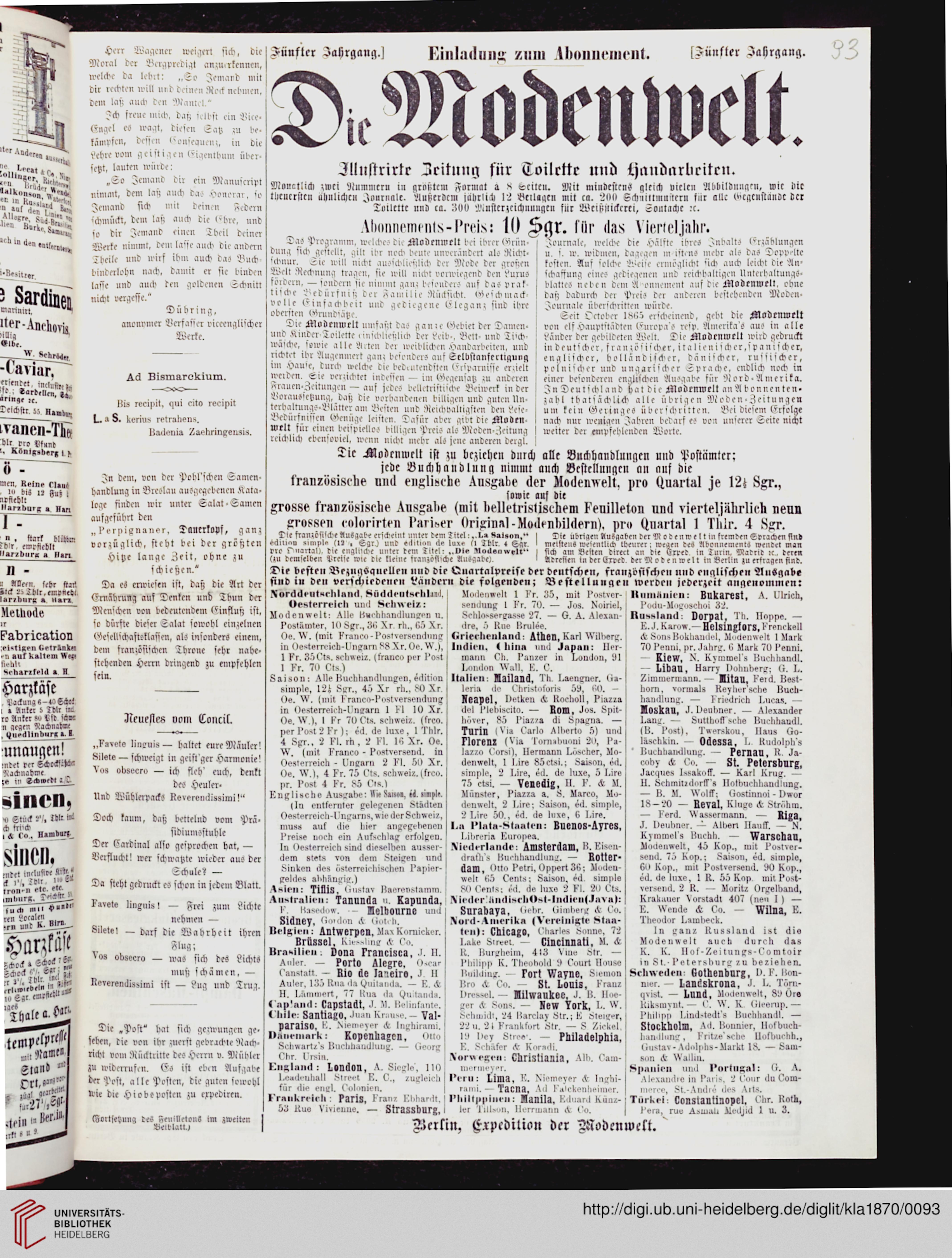 Kladderadatsch: Humoristisch-satirisches Wochenblatt (23.1870)