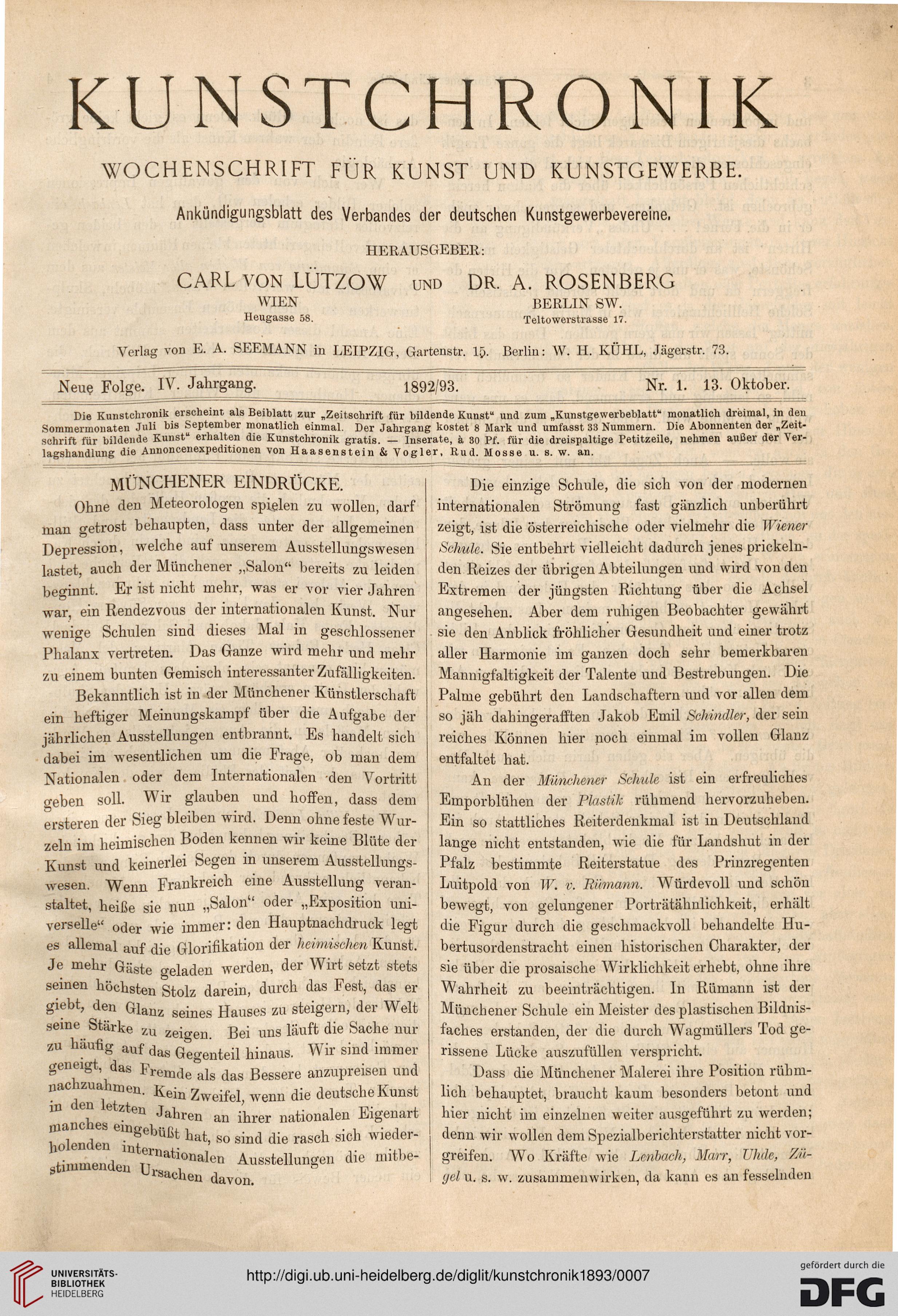 Kunstchronik: Wochenschrift für Kunst und Kunstgewerbe (N.F. 4.1893)