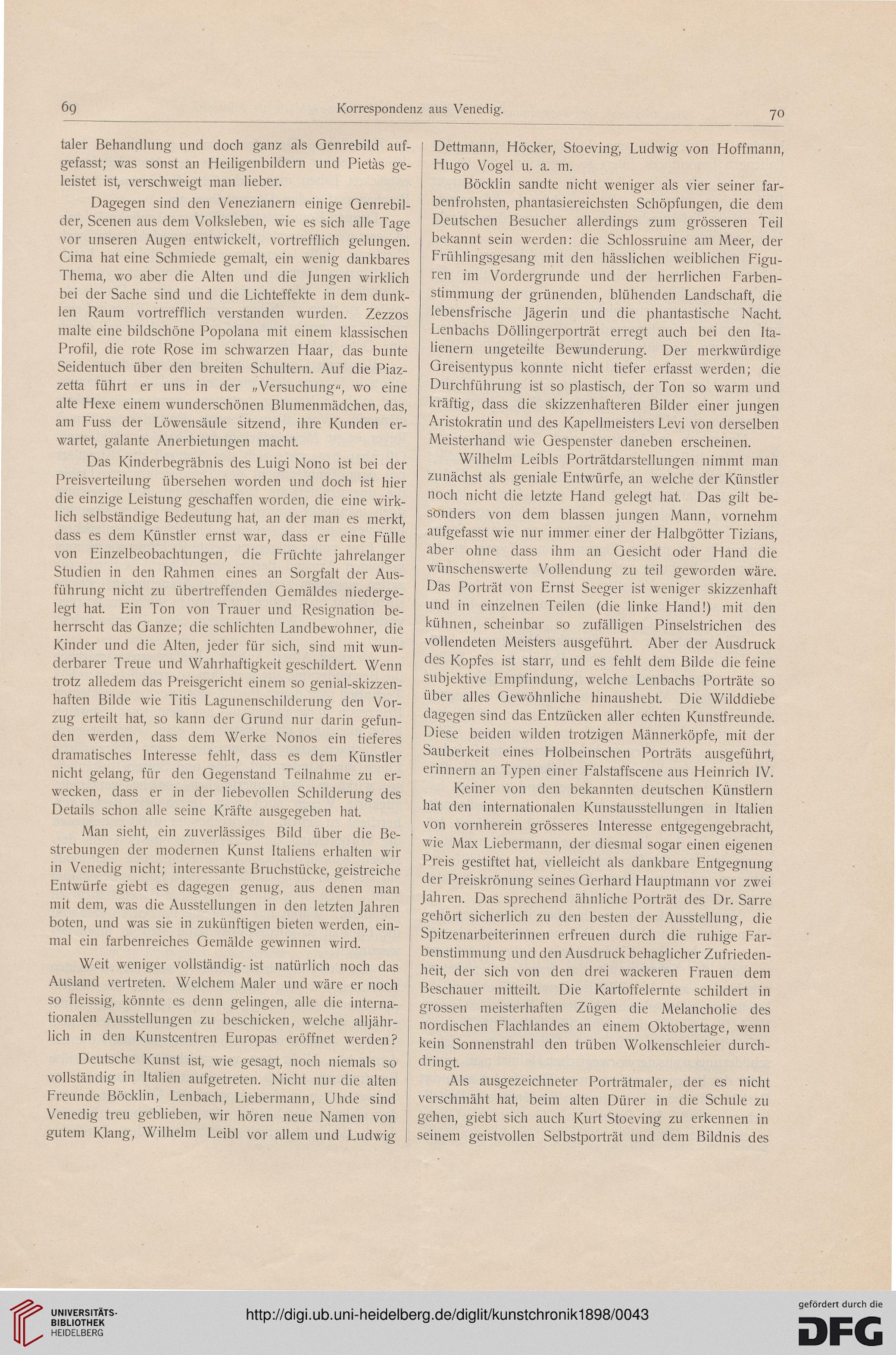 Kunstchronik: Wochenschrift für Kunst und Kunstgewerbe (N.F. 9.1898)