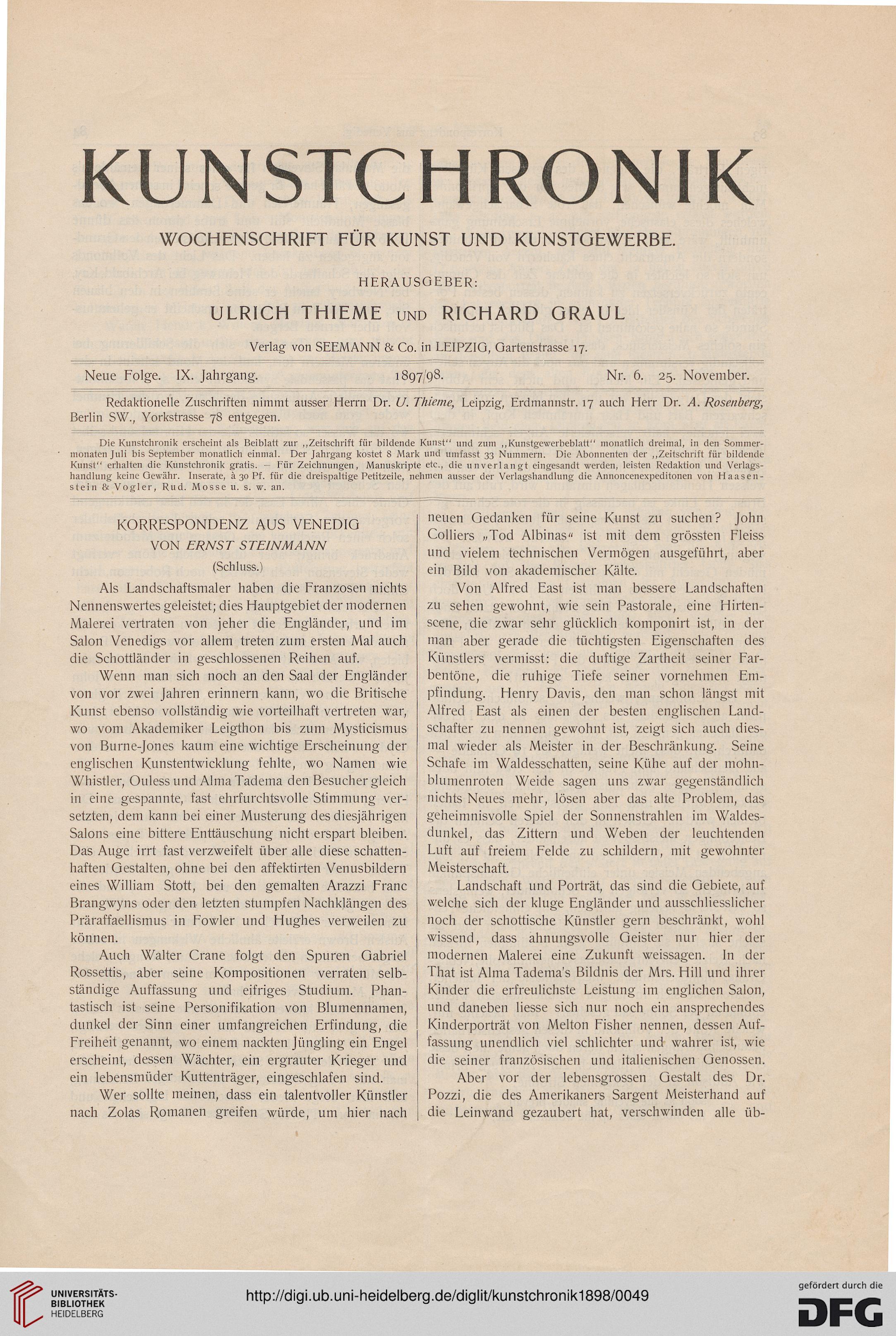 Kunstchronik wochenschrift für kunst und kunstgewerbe n f 9 1898